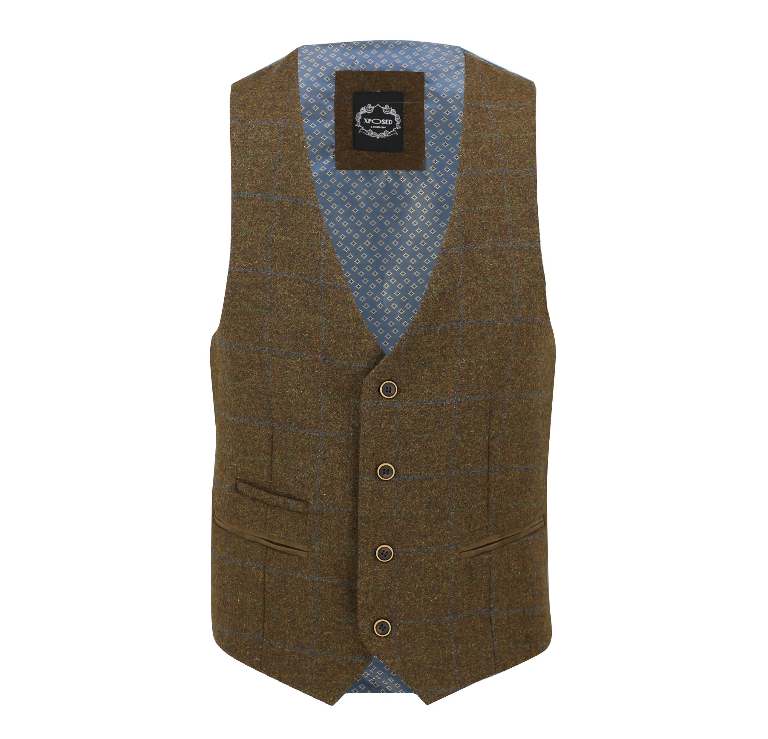 Mens-Vintage-Tweed-Check-Herringbone-Waistcoat-Casual-Retro-Grey-Brown-Green miniatuur 9