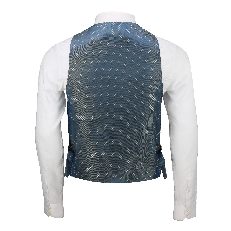 Mens-Vintage-Tweed-Check-Herringbone-Waistcoat-Casual-Retro-Grey-Brown-Green miniatuur 10