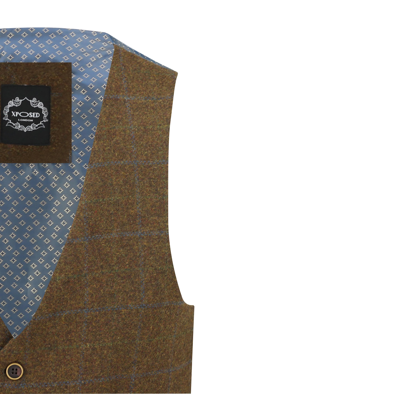 Mens-Vintage-Tweed-Check-Herringbone-Waistcoat-Casual-Retro-Grey-Brown-Green miniatuur 11