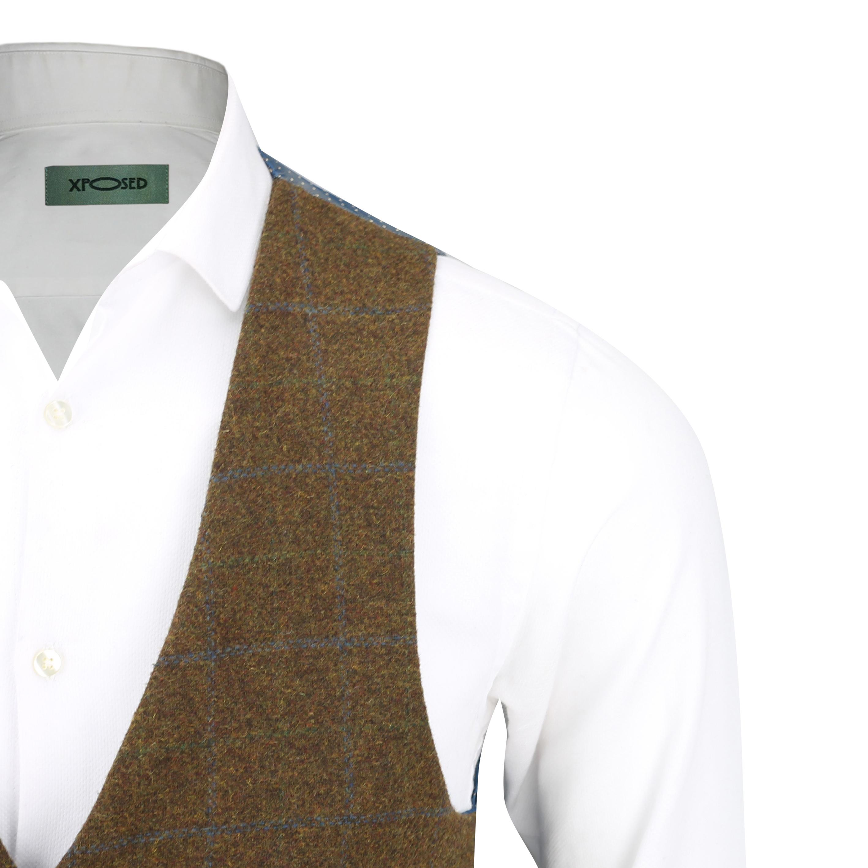 Mens-Vintage-Tweed-Check-Herringbone-Waistcoat-Casual-Retro-Grey-Brown-Green miniatuur 12