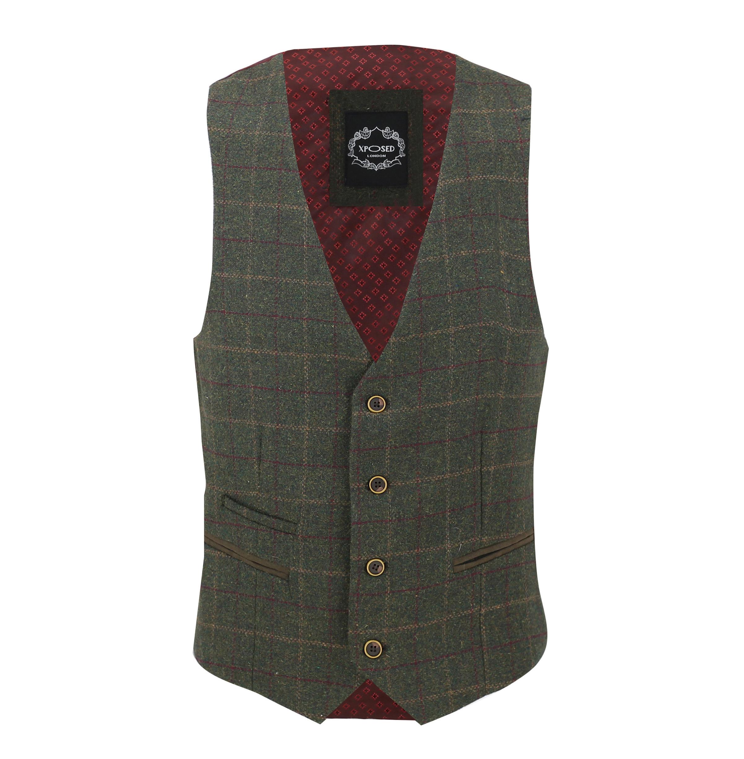 Mens-Vintage-Tweed-Check-Herringbone-Waistcoat-Casual-Retro-Grey-Brown-Green miniatuur 14