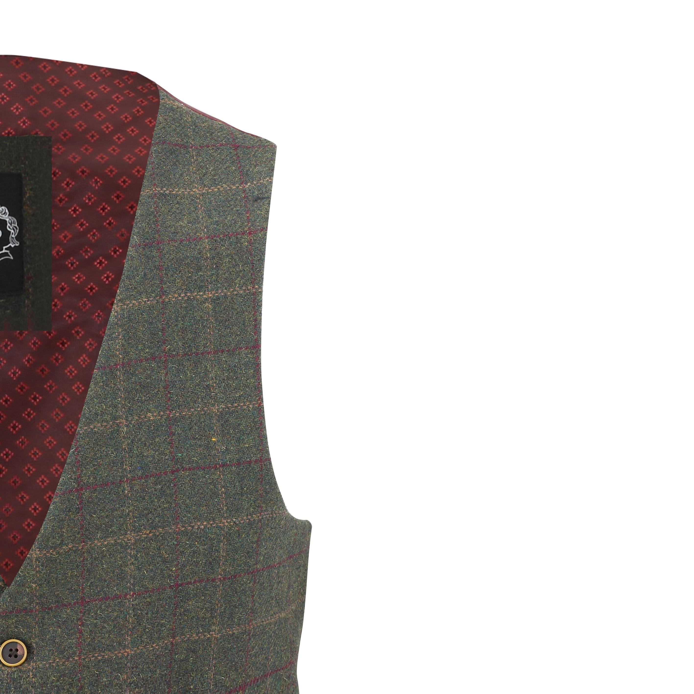 Mens-Vintage-Tweed-Check-Herringbone-Waistcoat-Casual-Retro-Grey-Brown-Green miniatuur 16