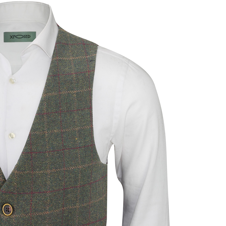 Mens-Vintage-Tweed-Check-Herringbone-Waistcoat-Casual-Retro-Grey-Brown-Green miniatuur 17
