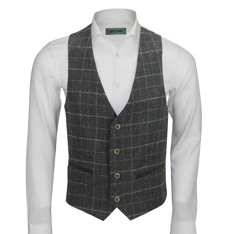 Mens-Vintage-Tweed-Check-Herringbone-Waistcoat-Casual-Retro-Grey-Brown-Green miniatuur 2