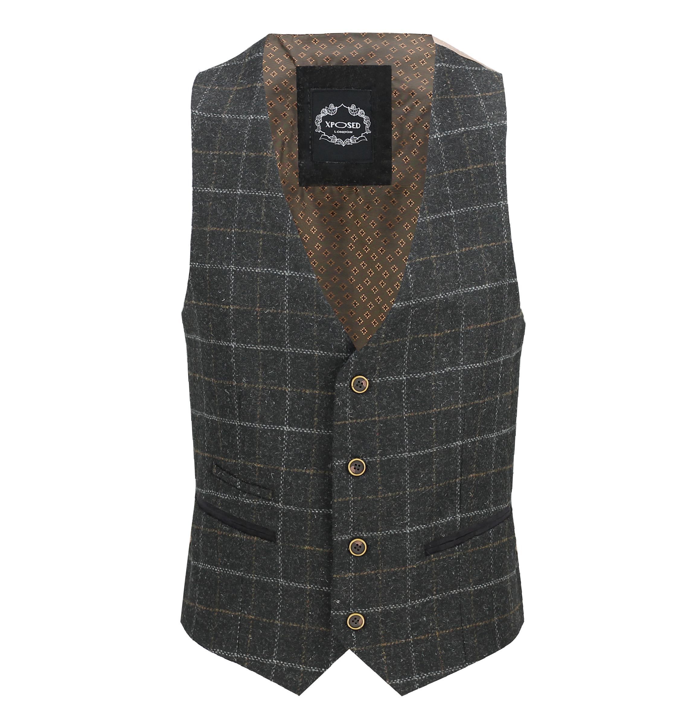 Mens-Vintage-Tweed-Check-Herringbone-Waistcoat-Casual-Retro-Grey-Brown-Green miniatuur 3