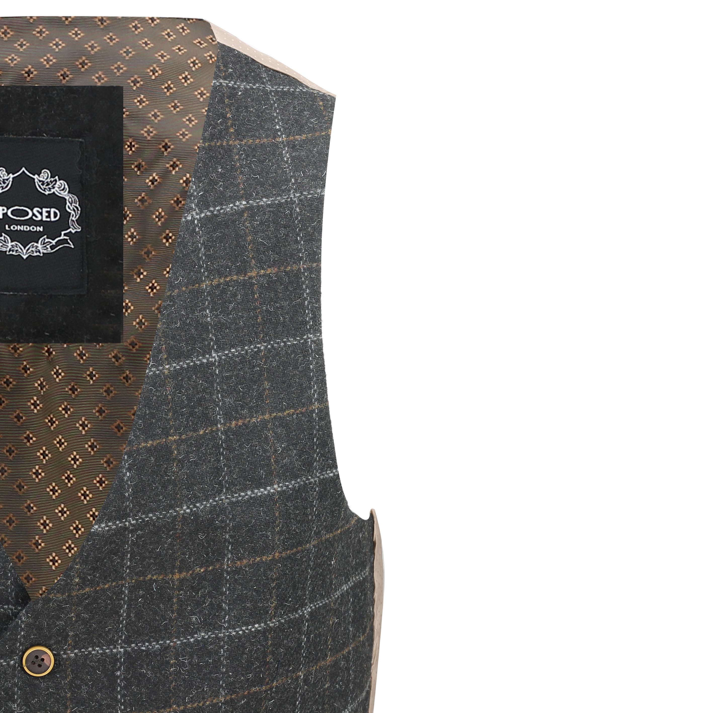 Mens-Vintage-Tweed-Check-Herringbone-Waistcoat-Casual-Retro-Grey-Brown-Green miniatuur 4