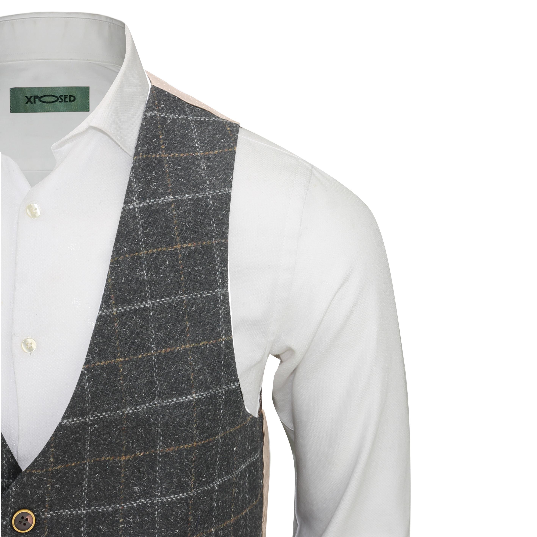 Mens-Vintage-Tweed-Check-Herringbone-Waistcoat-Casual-Retro-Grey-Brown-Green miniatuur 5