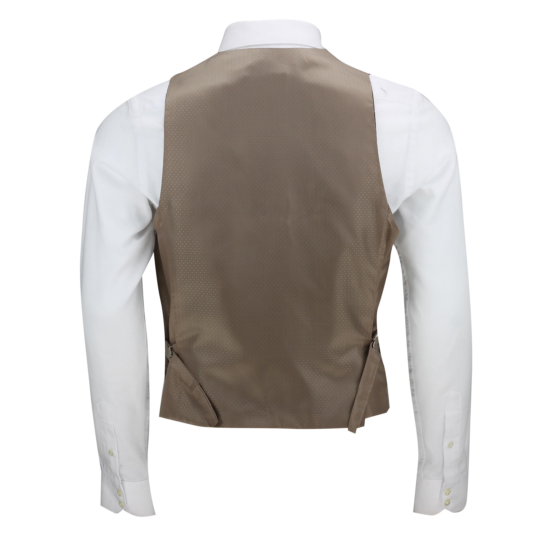 Mens-Vintage-Tweed-Check-Herringbone-Waistcoat-Casual-Retro-Grey-Brown-Green miniatuur 6