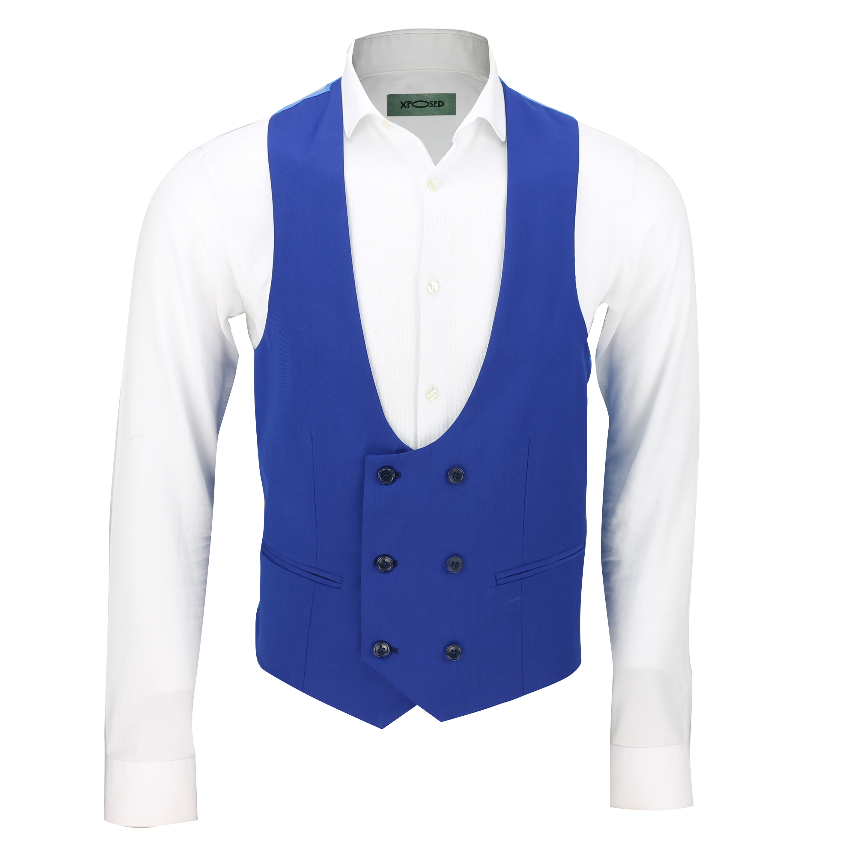 Mens Double Breasted Low U Cut Formal Suit Waistcoat ...