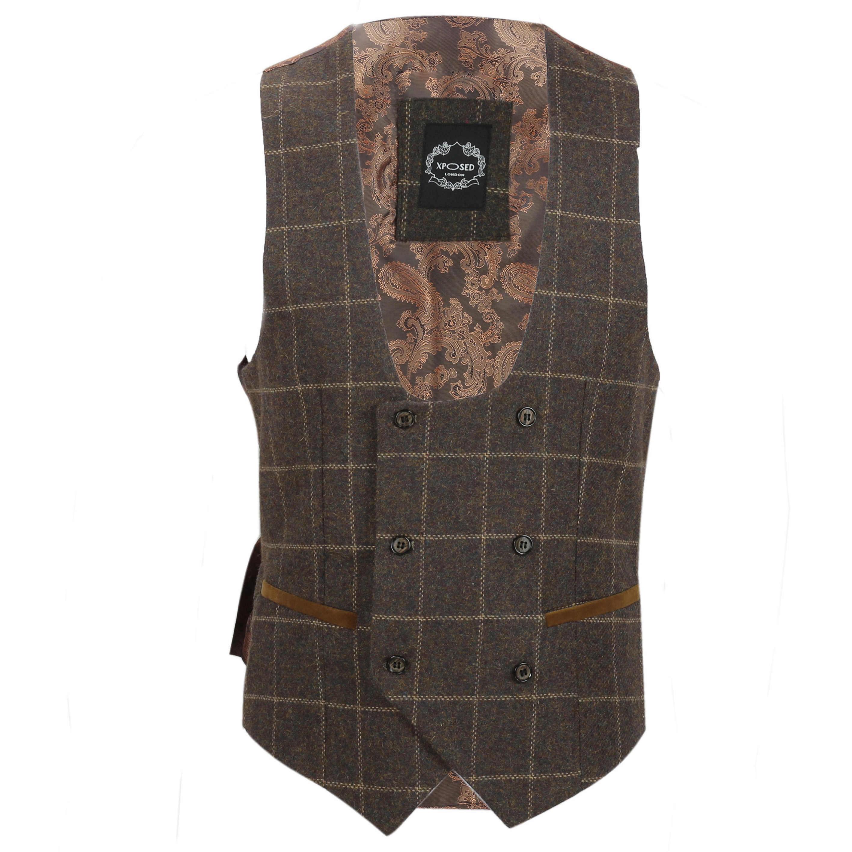 Para-Hombre-Tweed-Marron-Tierra-3-piezas-traje-de-verificacion-se-vende-por-separado-Blazer-Chaleco miniatura 23