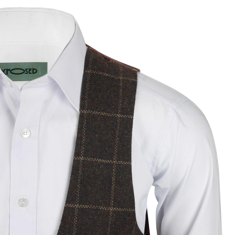 Para-Hombre-Tweed-Marron-Tierra-3-piezas-traje-de-verificacion-se-vende-por-separado-Blazer-Chaleco miniatura 24