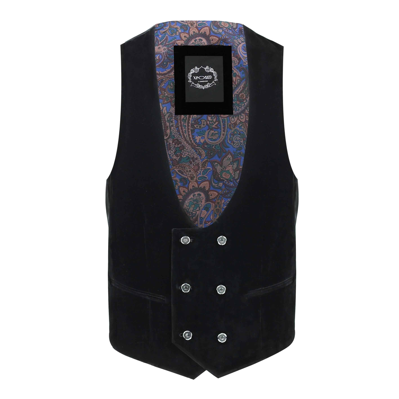 Para-hombre-negro-terciopelo-vintage-3-Piezas-Traje-Blazer-Chaleco-del-pantalon-se-vende-por miniatura 24