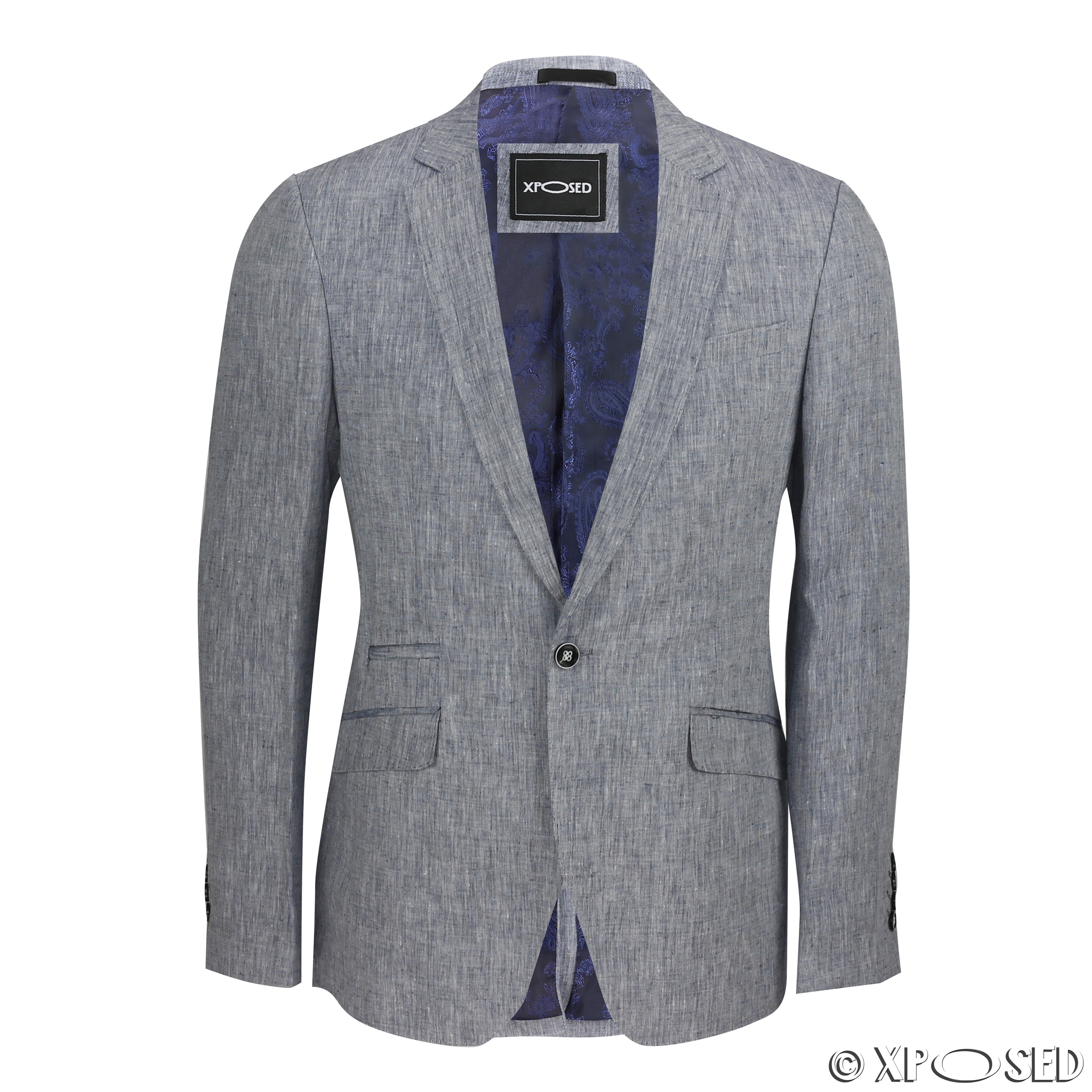 Mens Vintage Cotton Linen Blend Slim Fit Blazer Smart ...
