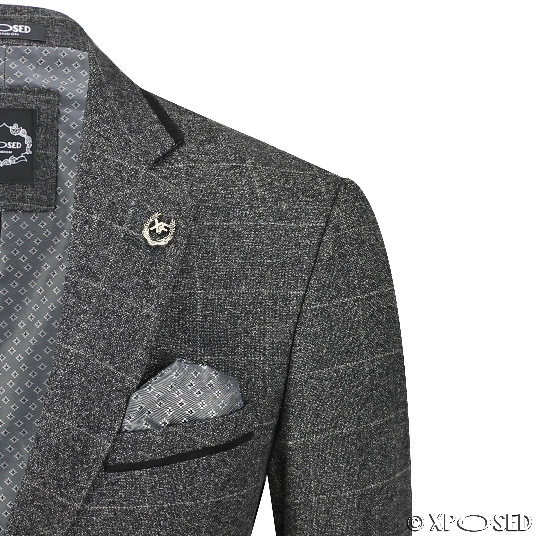 Nuevo-Para-Hombre-Traje-de-3-piezas-de-verificacion-en-gris-se-vende-por-separado-Chaqueta miniatura 3