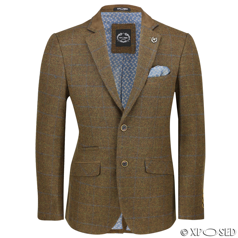 Blazers Jackets Mens: Mens Vintage Tweed Herringbone Check Blazer In Grey Brown