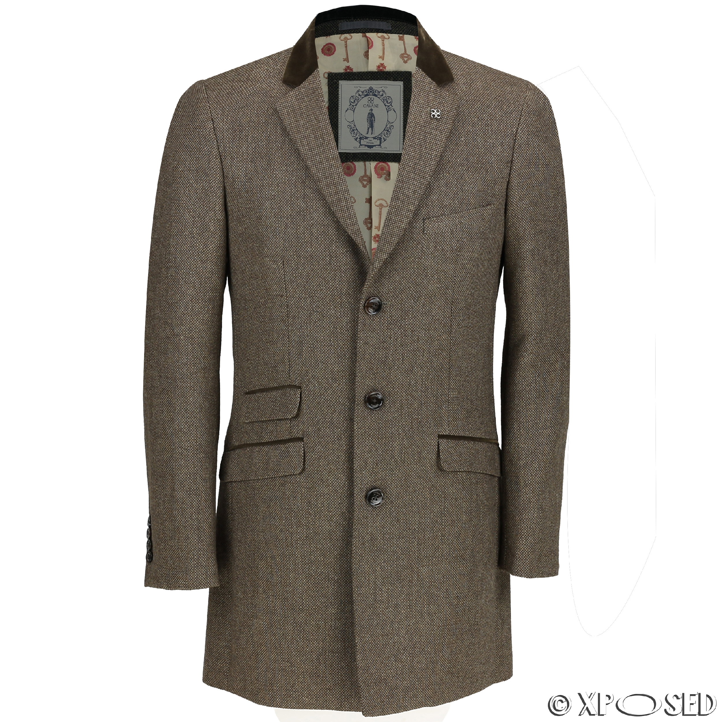 Mens Long Coat Wool Mix Herringbone Tweed Vintage Trench ...