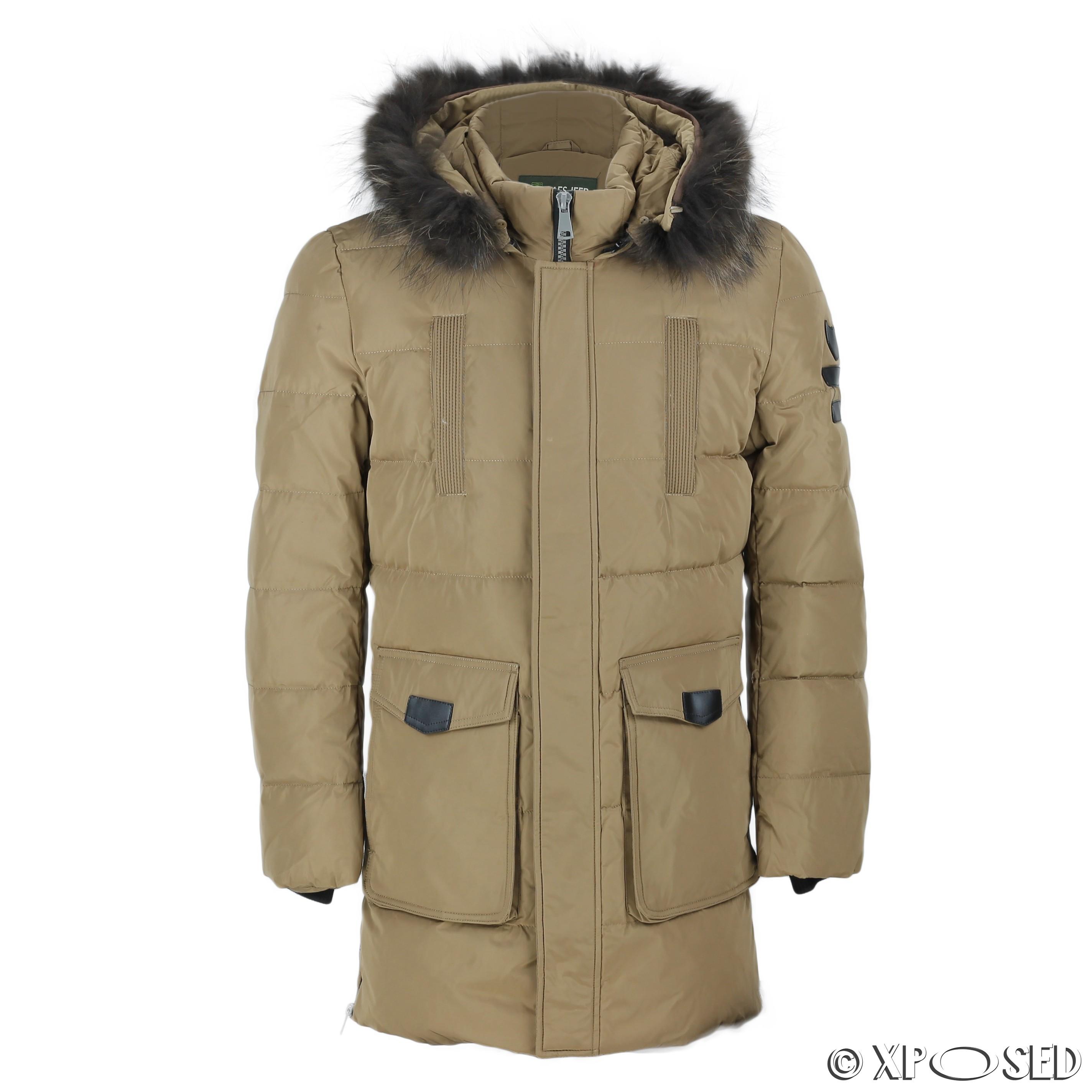 New Mens Puffer Padded Fur Hood Down Jacket Winter Warm