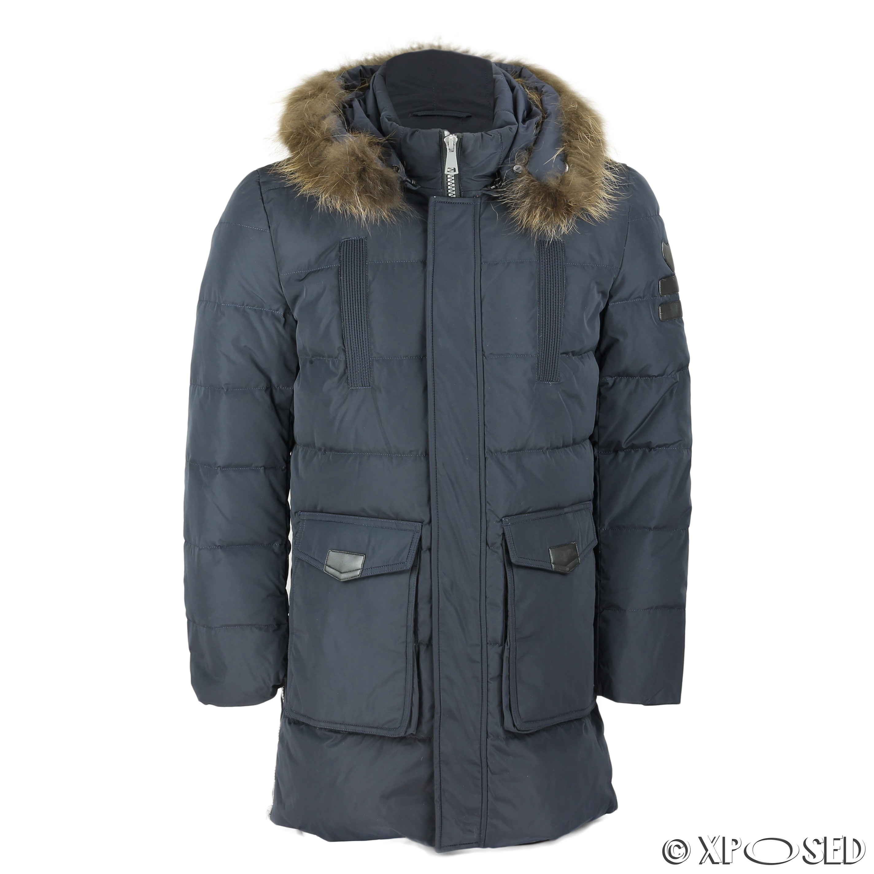 New Mens Puffer Padded Fur Hood Down Jacket Winter Warm Parka Coat ...