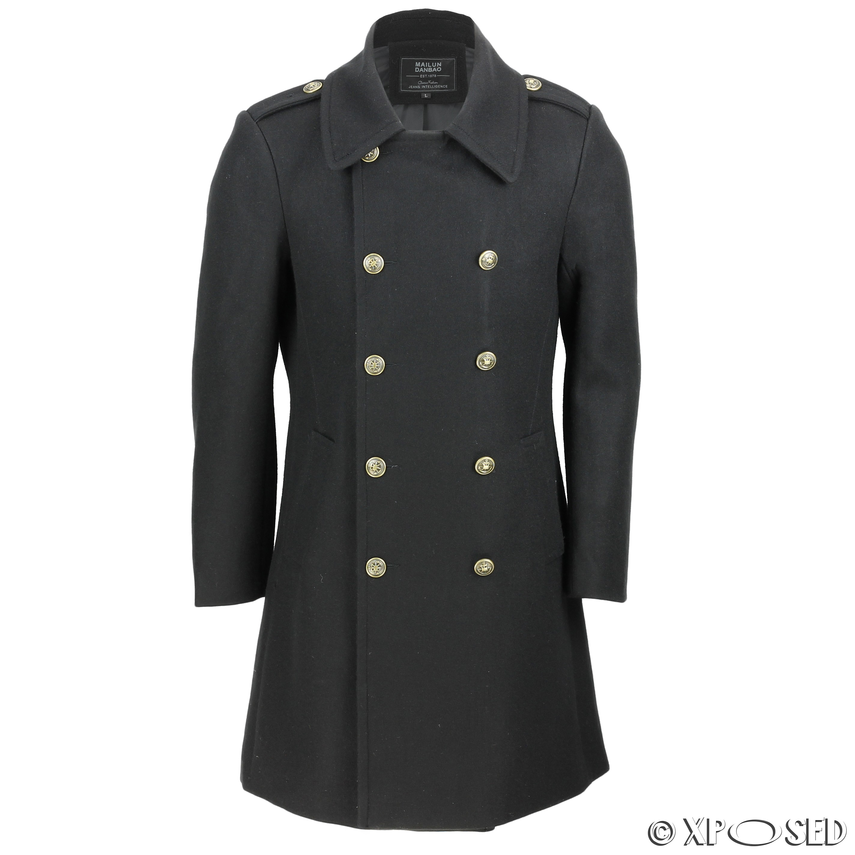 Mens Vintage Military Style Wool Mix Double Breasted ...