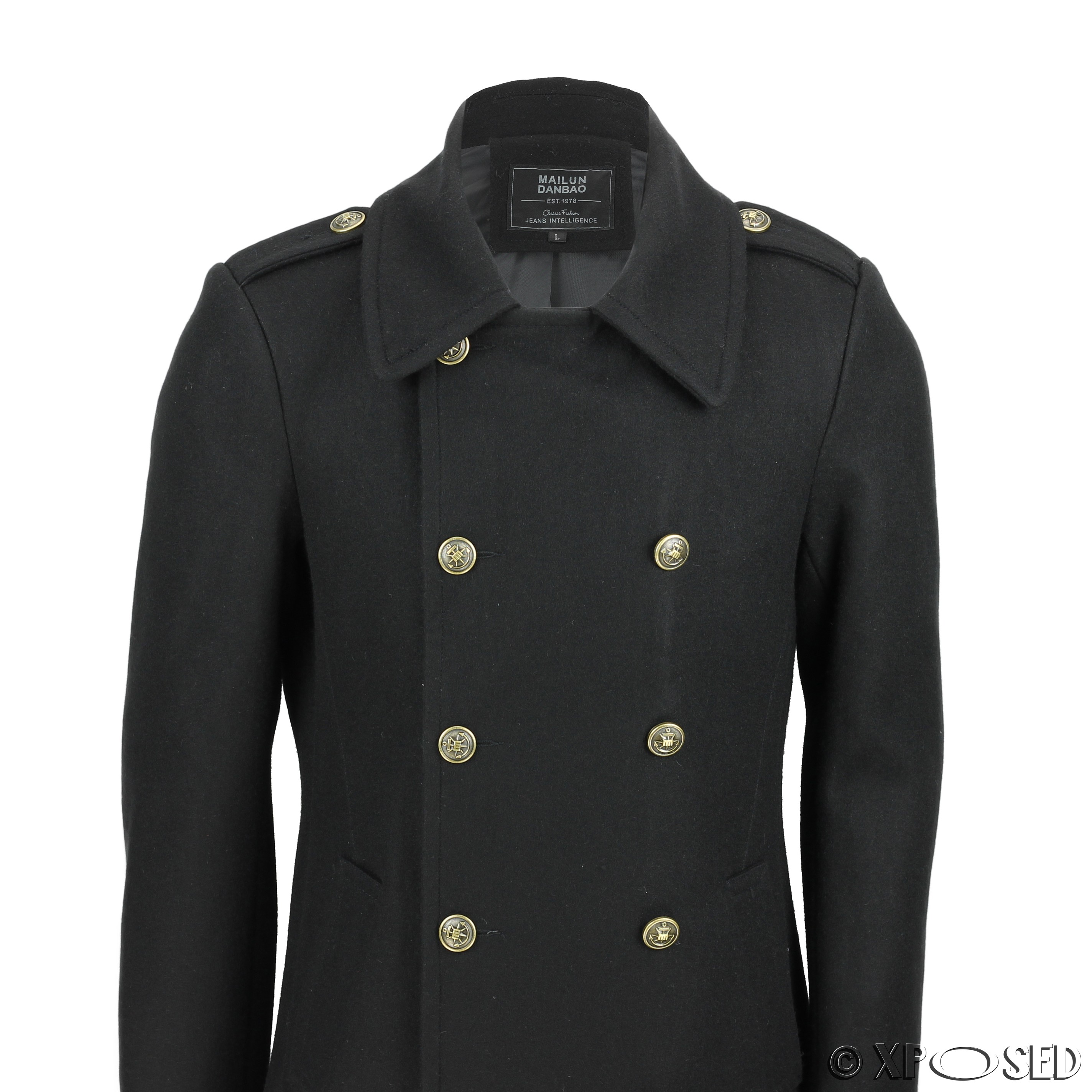 Mens Vintage Military Style Wool Mix Double Breasted Jacket Overcoat Black Navy Ebay