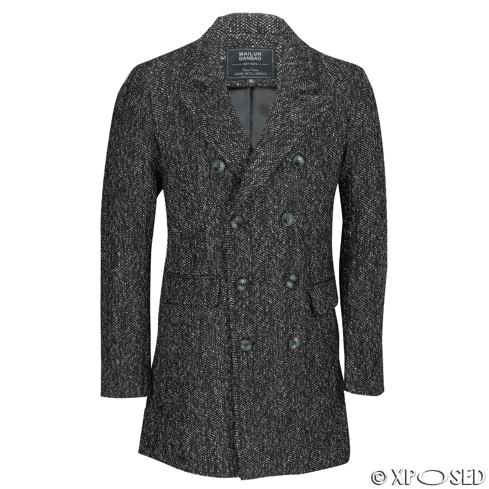 Details about Mens Black Grey Tweed Check Herringbone Double Breasted  Jacket Slim Fit Overcoat