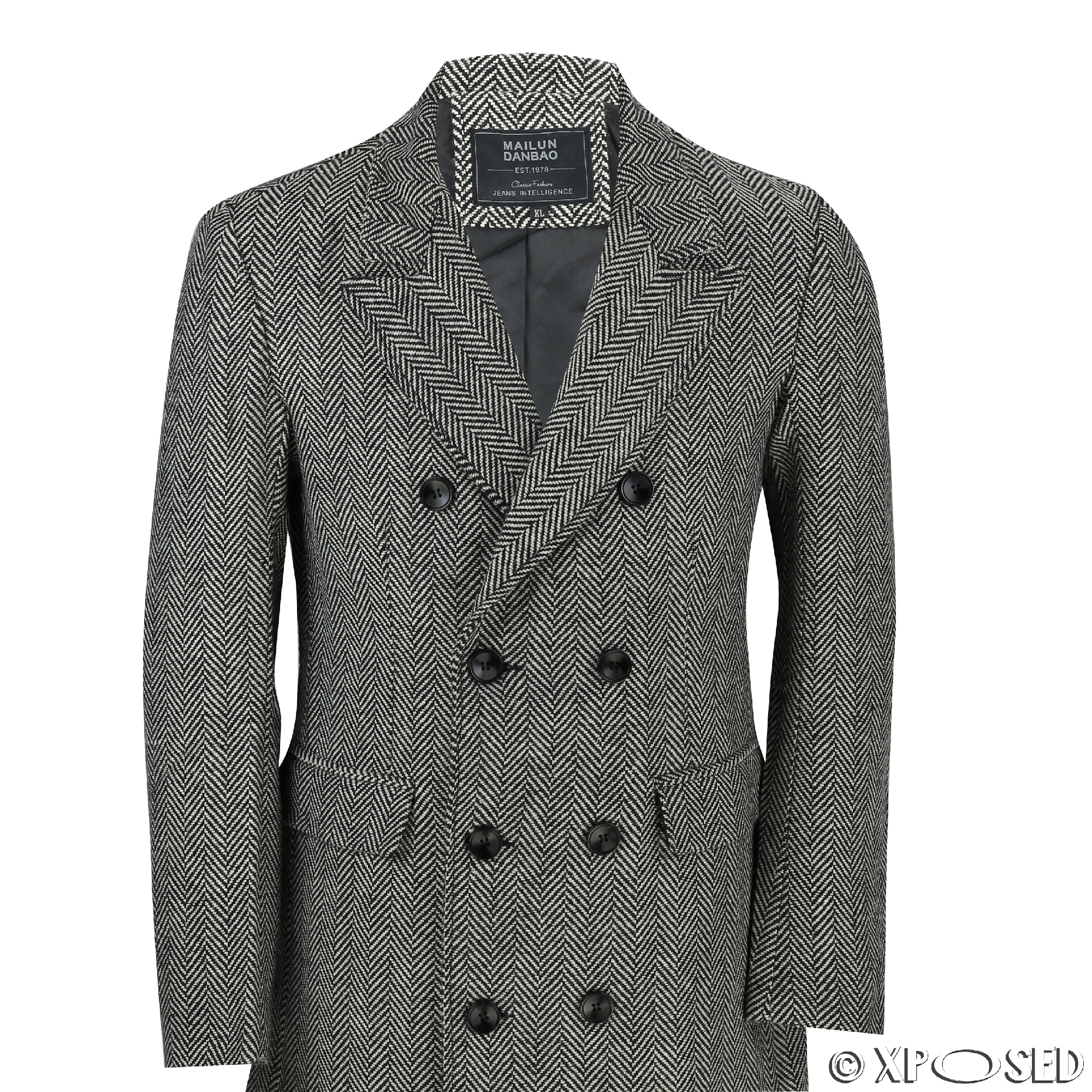 Mens Black Grey Tweed Check Herringbone Double Breasted Jacket ...