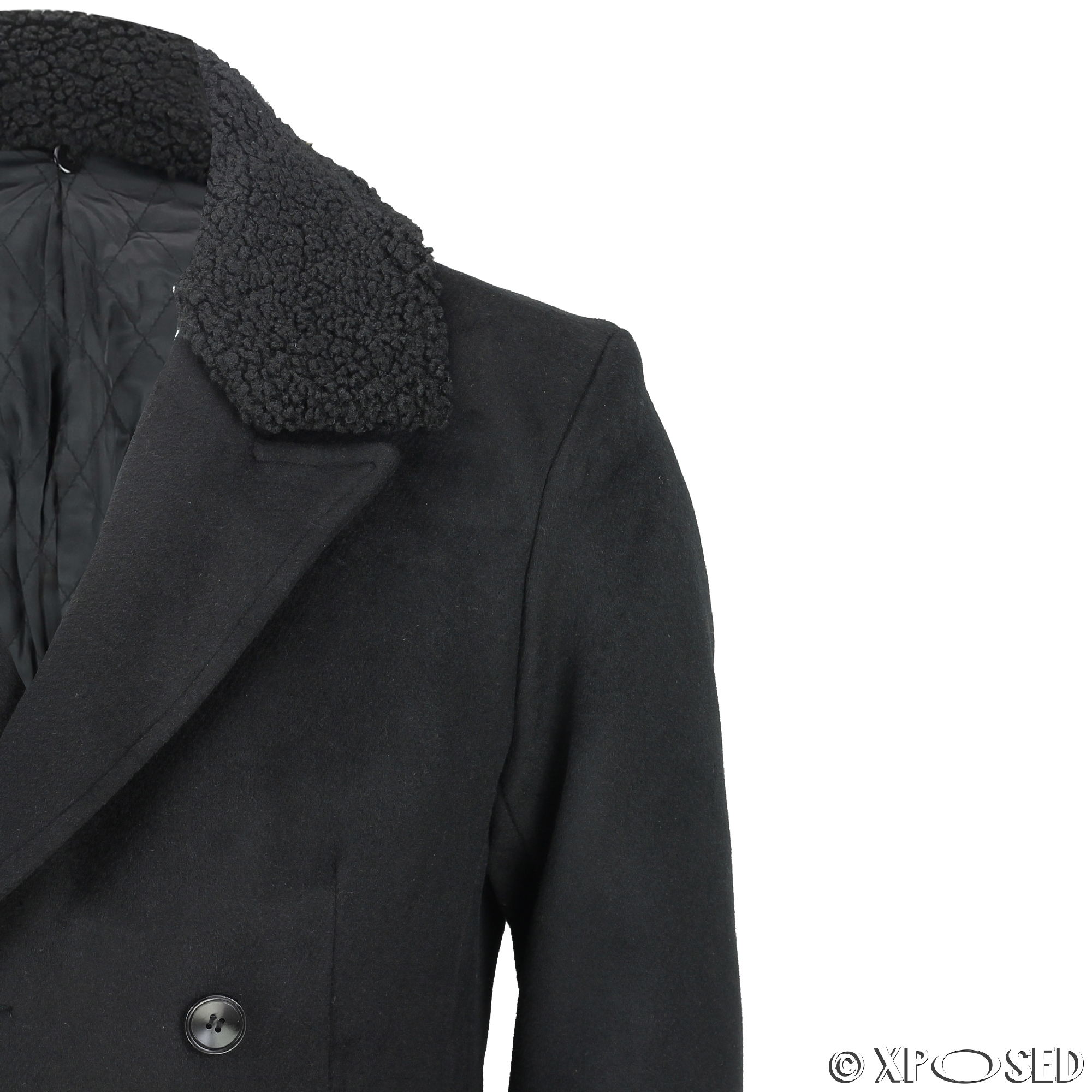 mens black maroon double breasted overcoat detachable fur collar slim fit jacket ebay. Black Bedroom Furniture Sets. Home Design Ideas