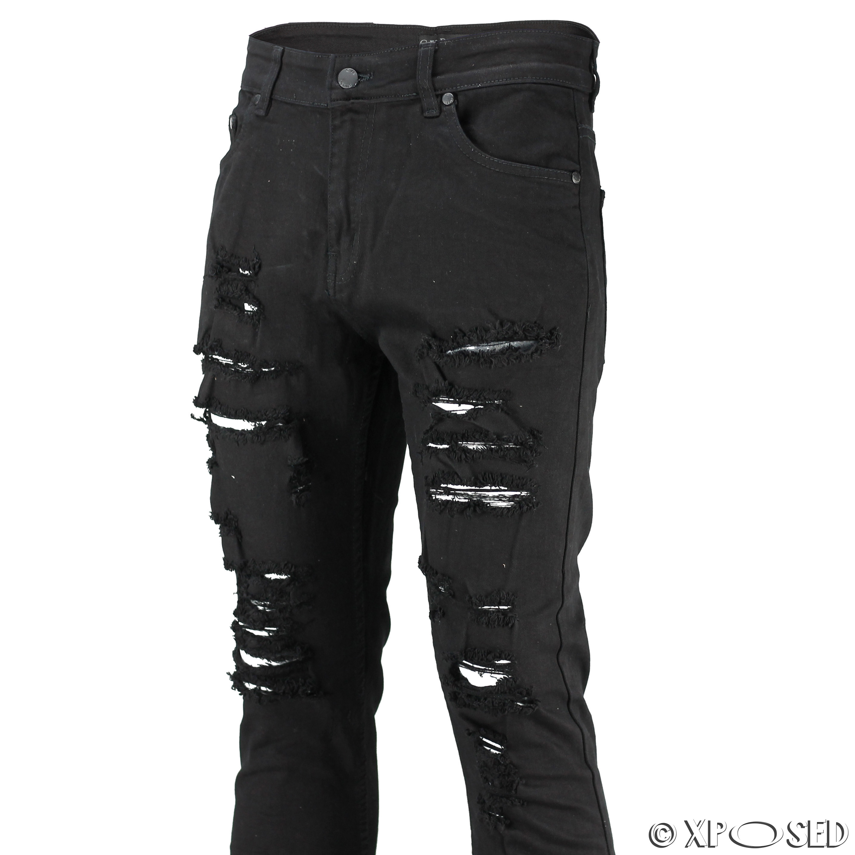 New Mens Skinny Jeans Super Stretch Ripped Cutaway Extreme Open Frayed Rip Denim | eBay