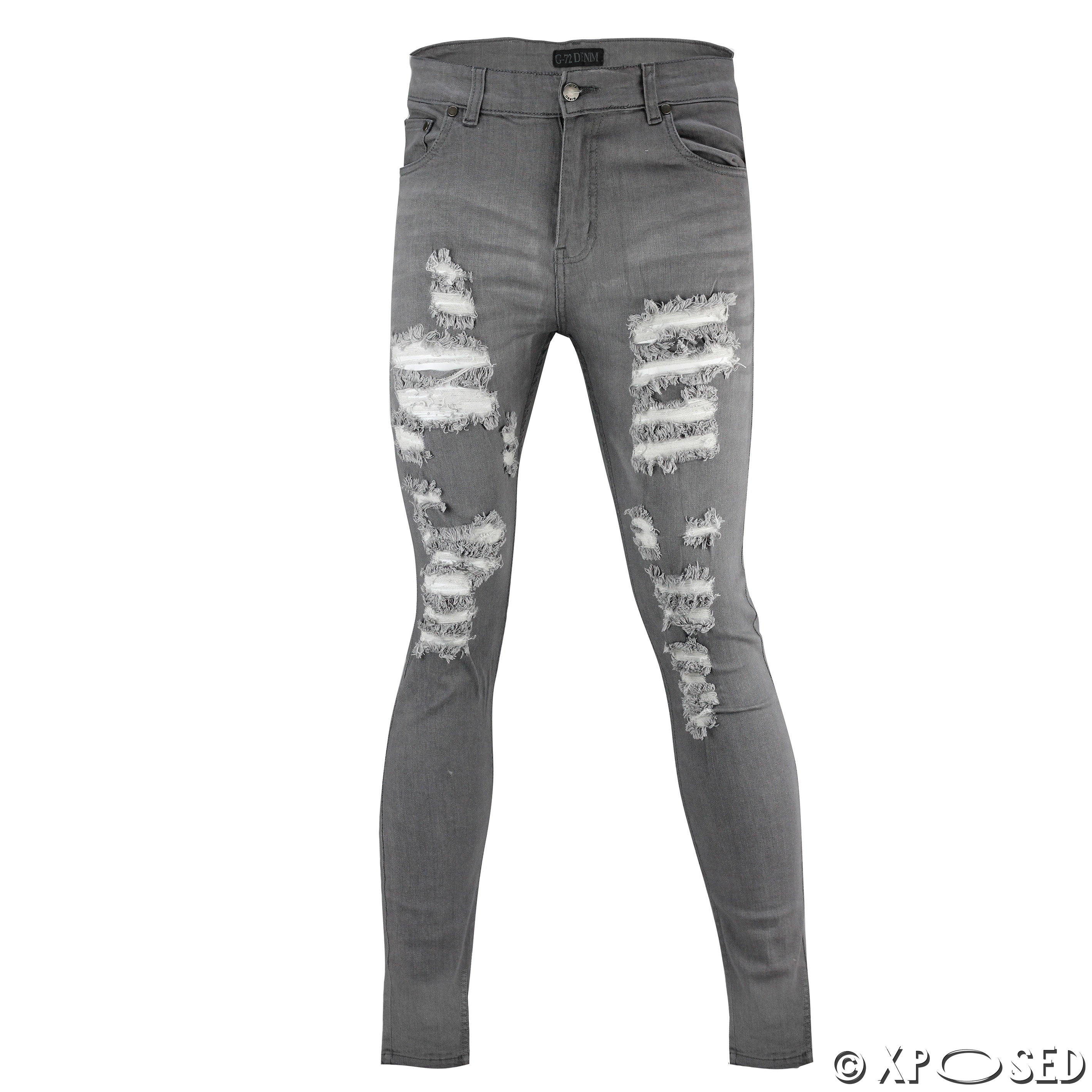 22dfb89f515b New Mens Skinny Jeans Super Stretch Ripped Cutaway Extreme Open ...