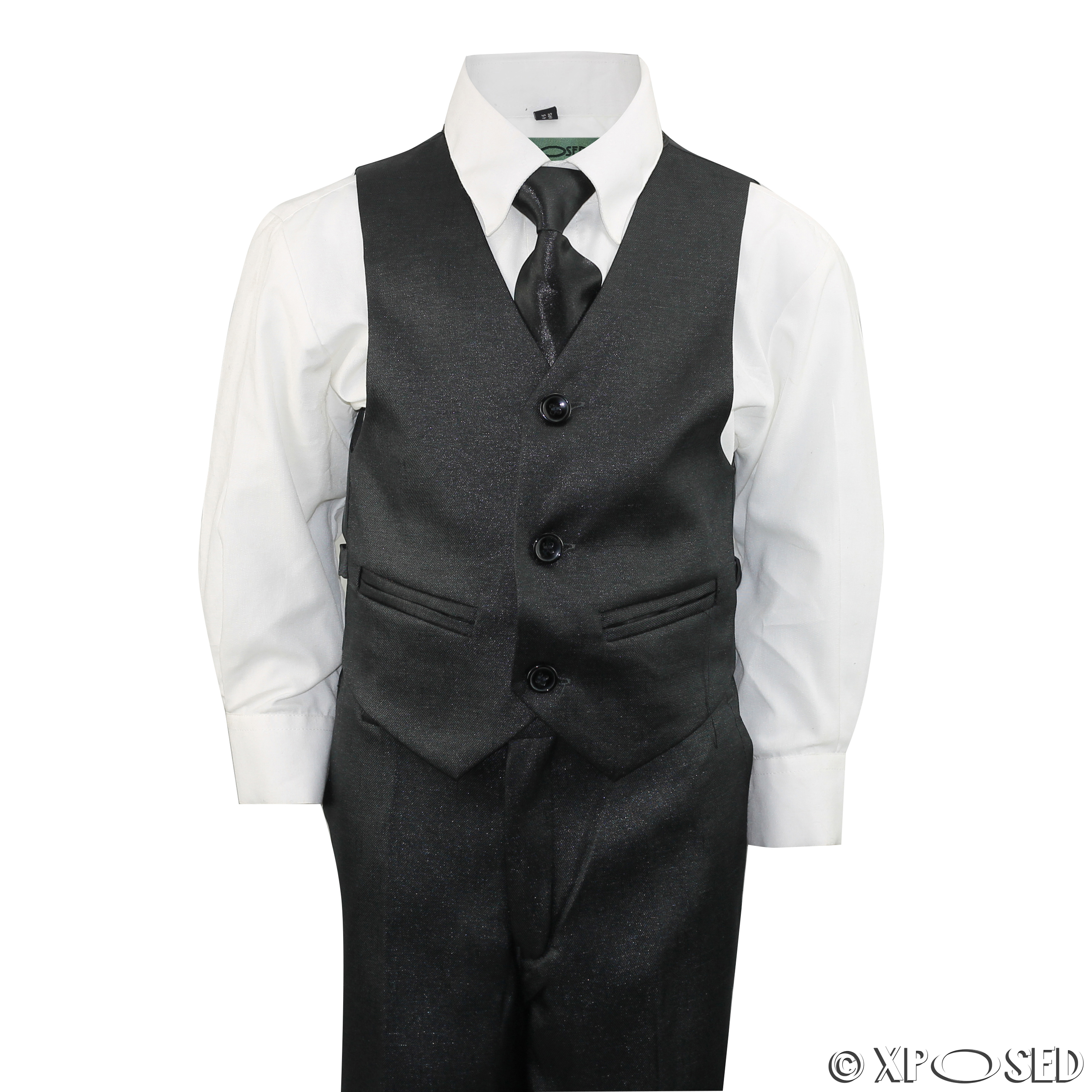 1719334229e12 New Kids Page Boys 3 Piece Shiny Black Tuxedo Suit Wedding Party Age 2 - 12  Year