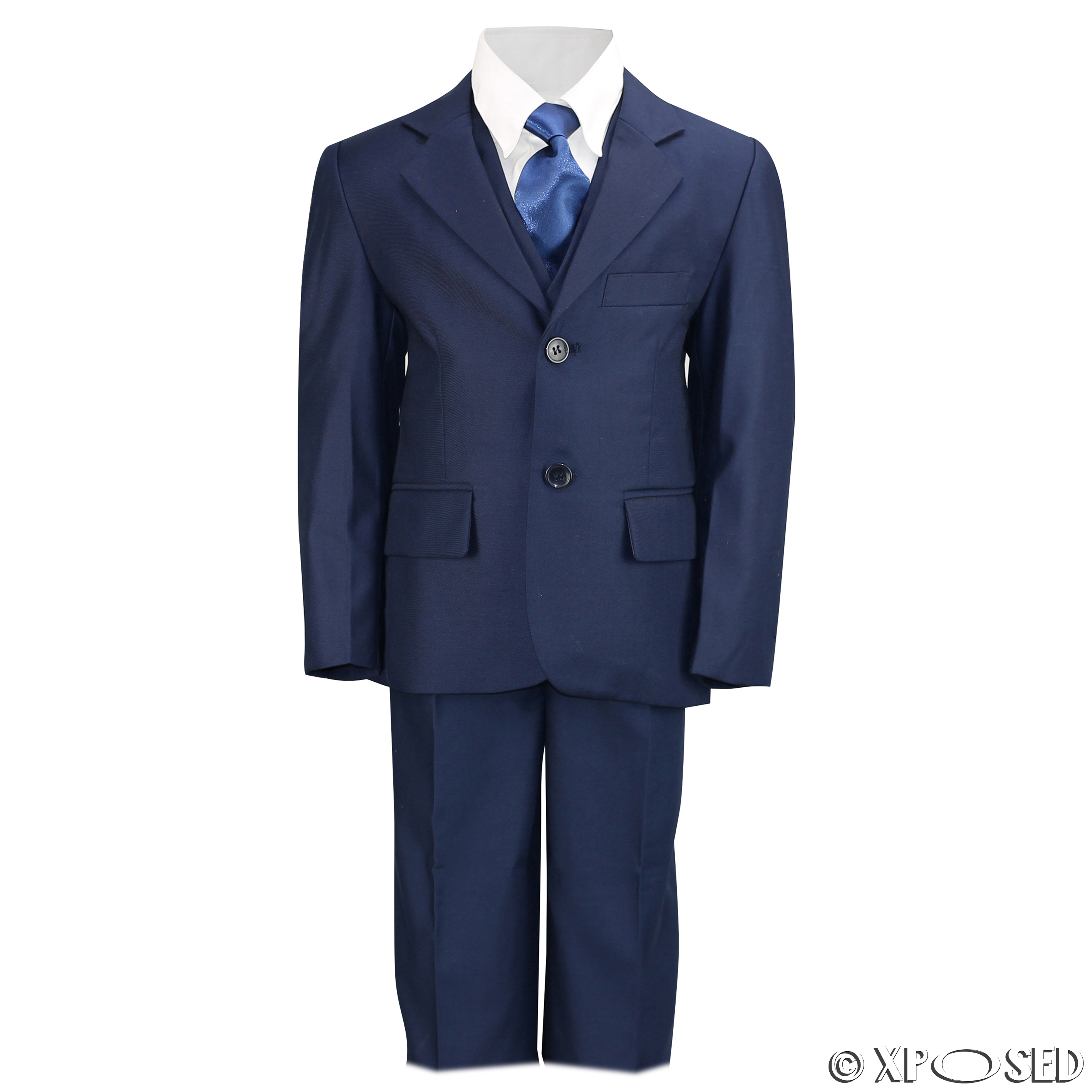 Kids Page Boy 3 Piece Suit Outfits Black Navy Blue Wedding Party ...