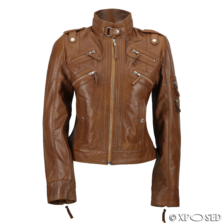 New Black Brown Ladies Womens Real Leather Slim Fit Soft Zip Biker Style Jacket | EBay