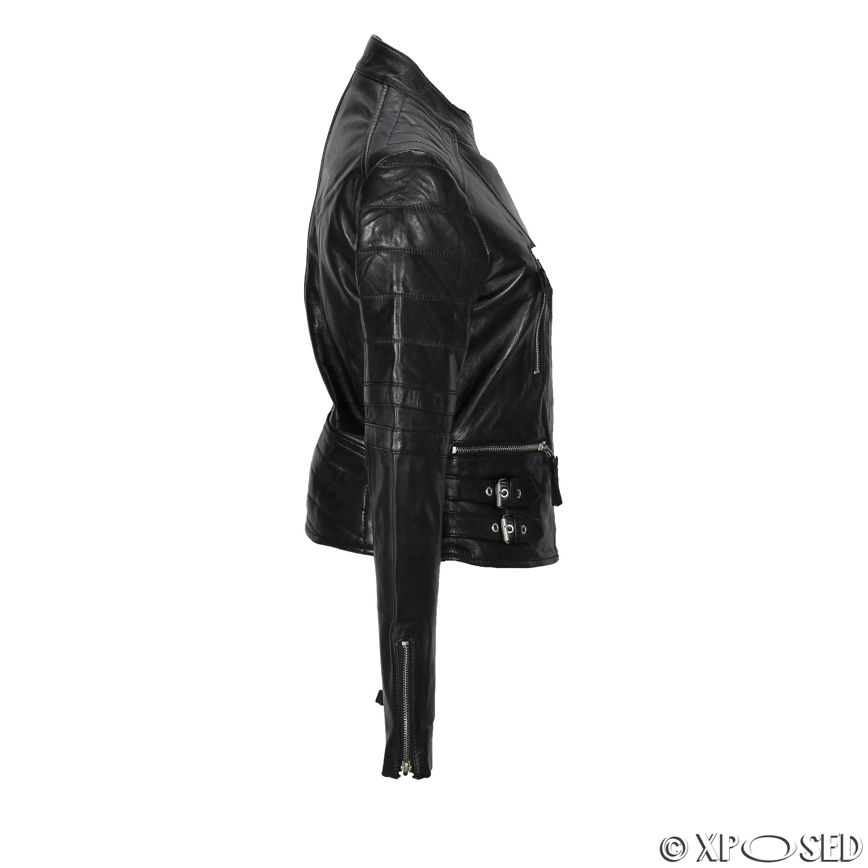 Black leather biker jacket size 22