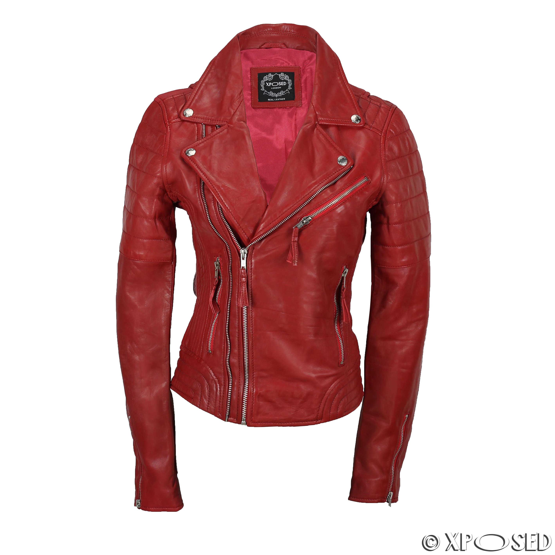 Ladies Women Black Red Soft Real Leather Biker Jacket Slim ...