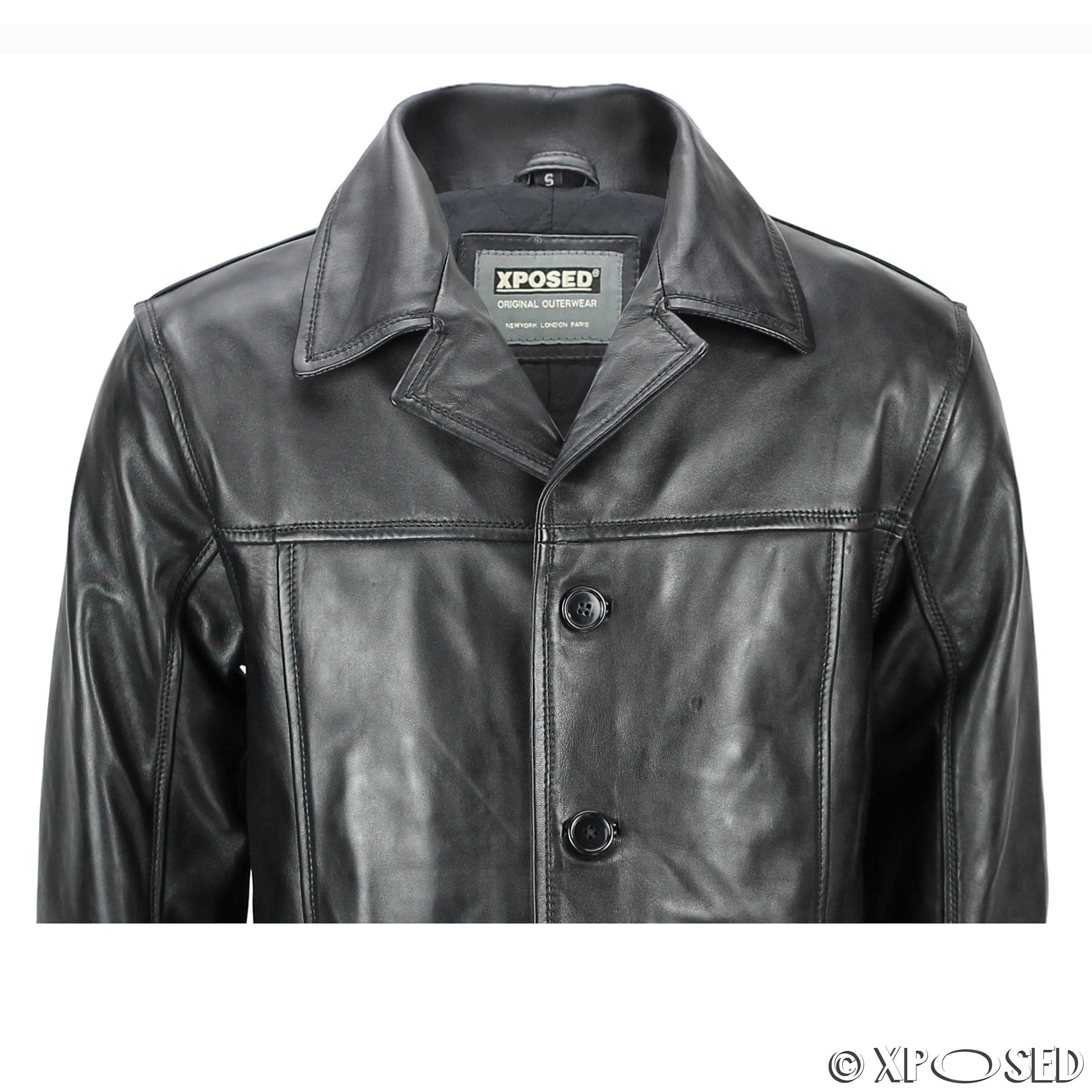 mens real leather mid 3 4 length vintage smart casual button black reefer jacket ebay. Black Bedroom Furniture Sets. Home Design Ideas