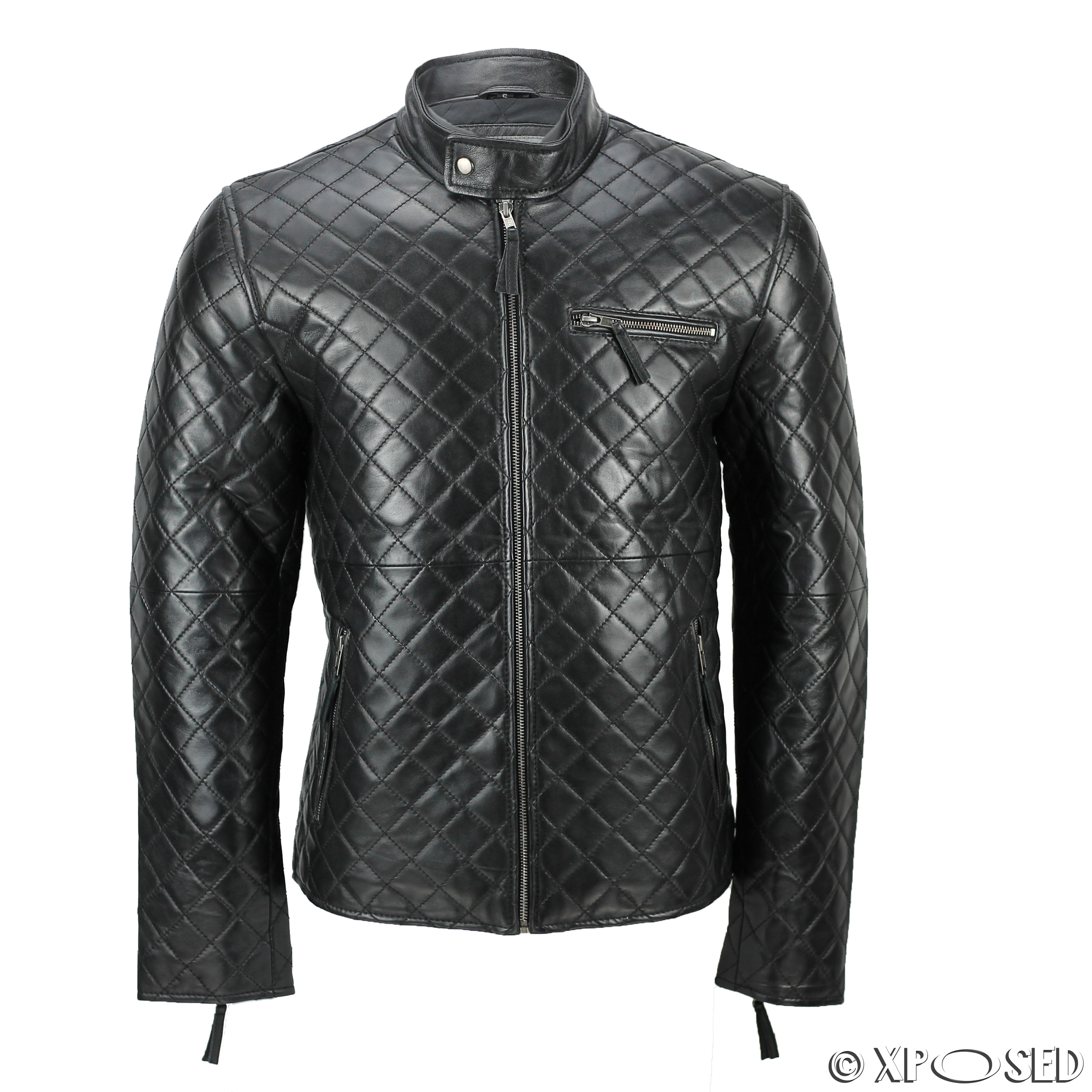 XPOSED Mens Real Leather Black Smart Casual Quilted Biker Style ... : quilted biker leather jacket - Adamdwight.com