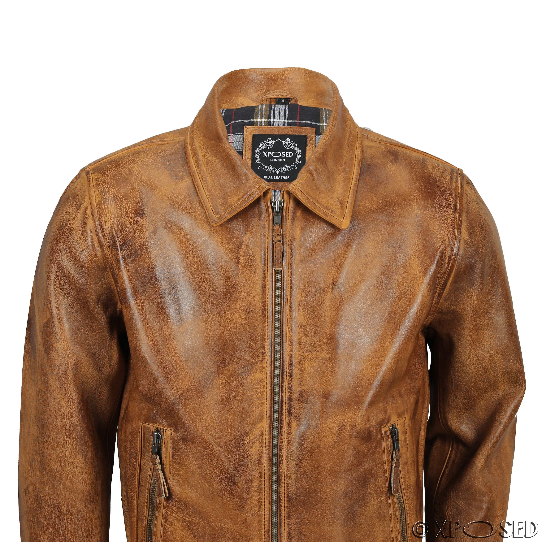 Mens Soft Real Leather Collar Bomber Jacket Vintage Biker ...