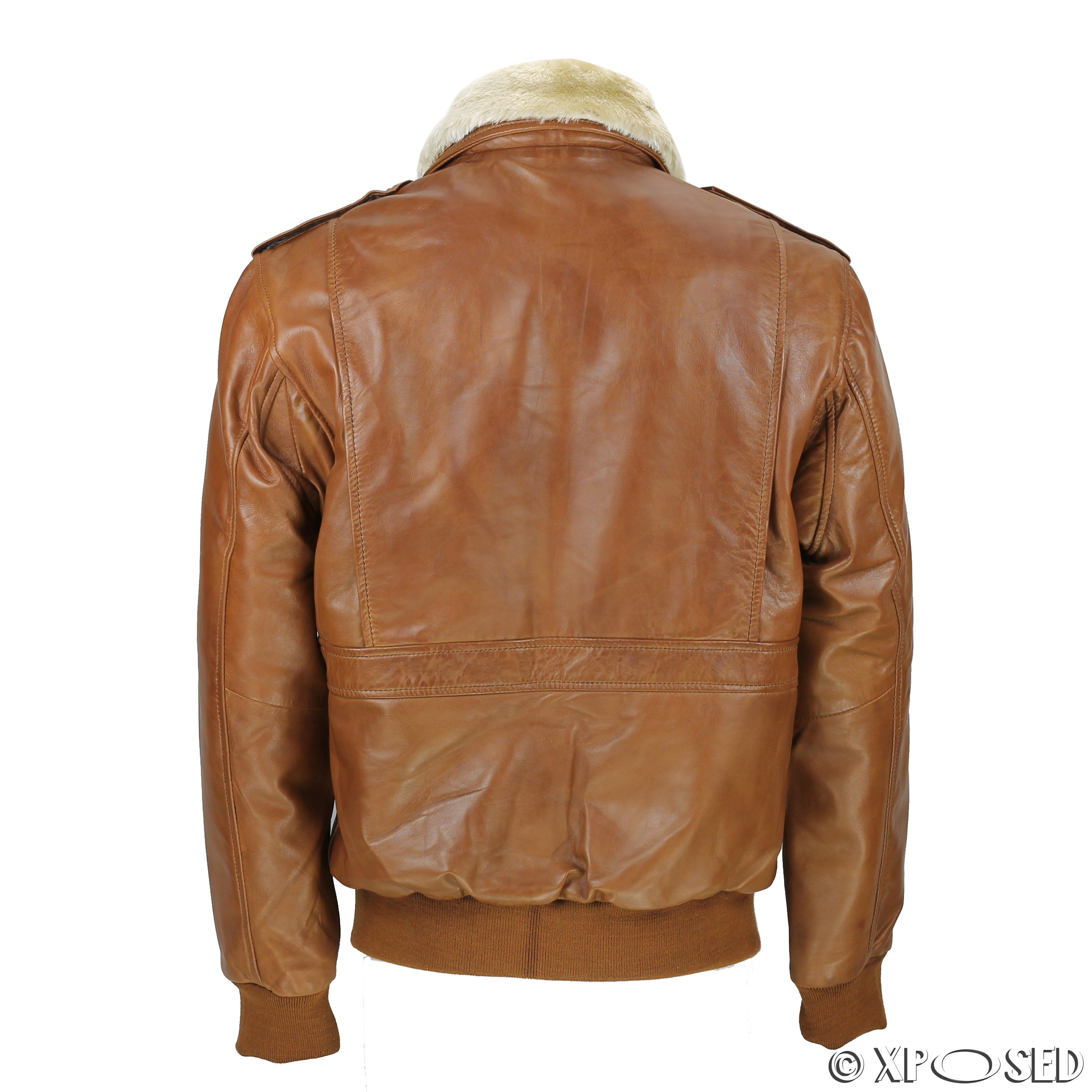 Vintage leather jacket with fur collar