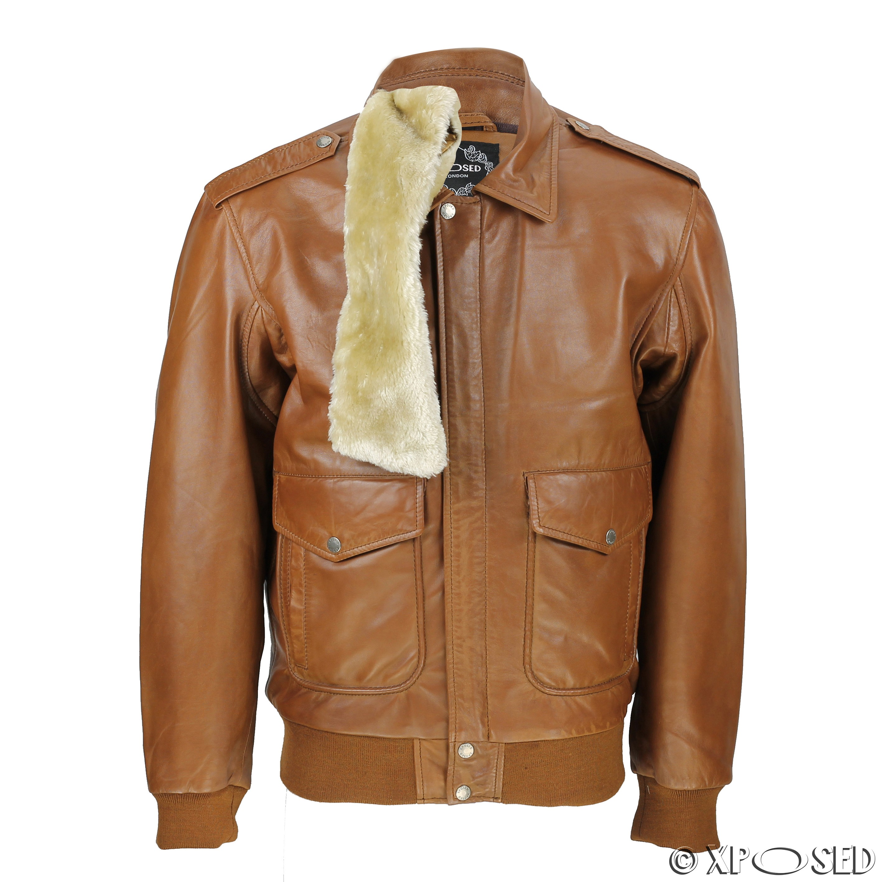 Mens leather jackets with fur collar