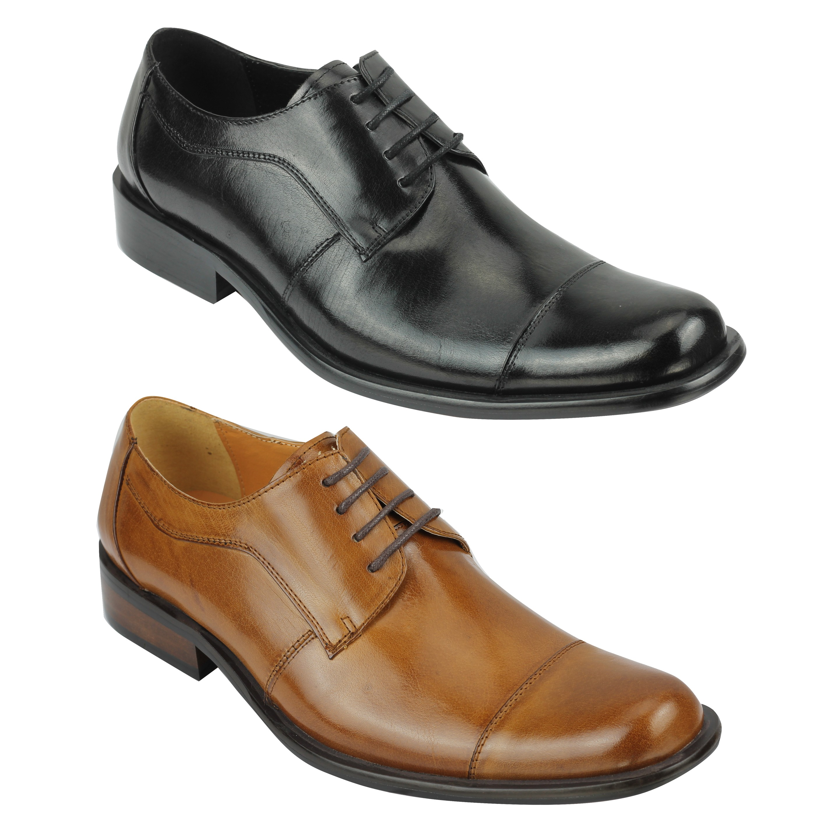 Details about New Mens Real Leather Shoes Polished Black Tan Smart Formal Office Lace up Derby