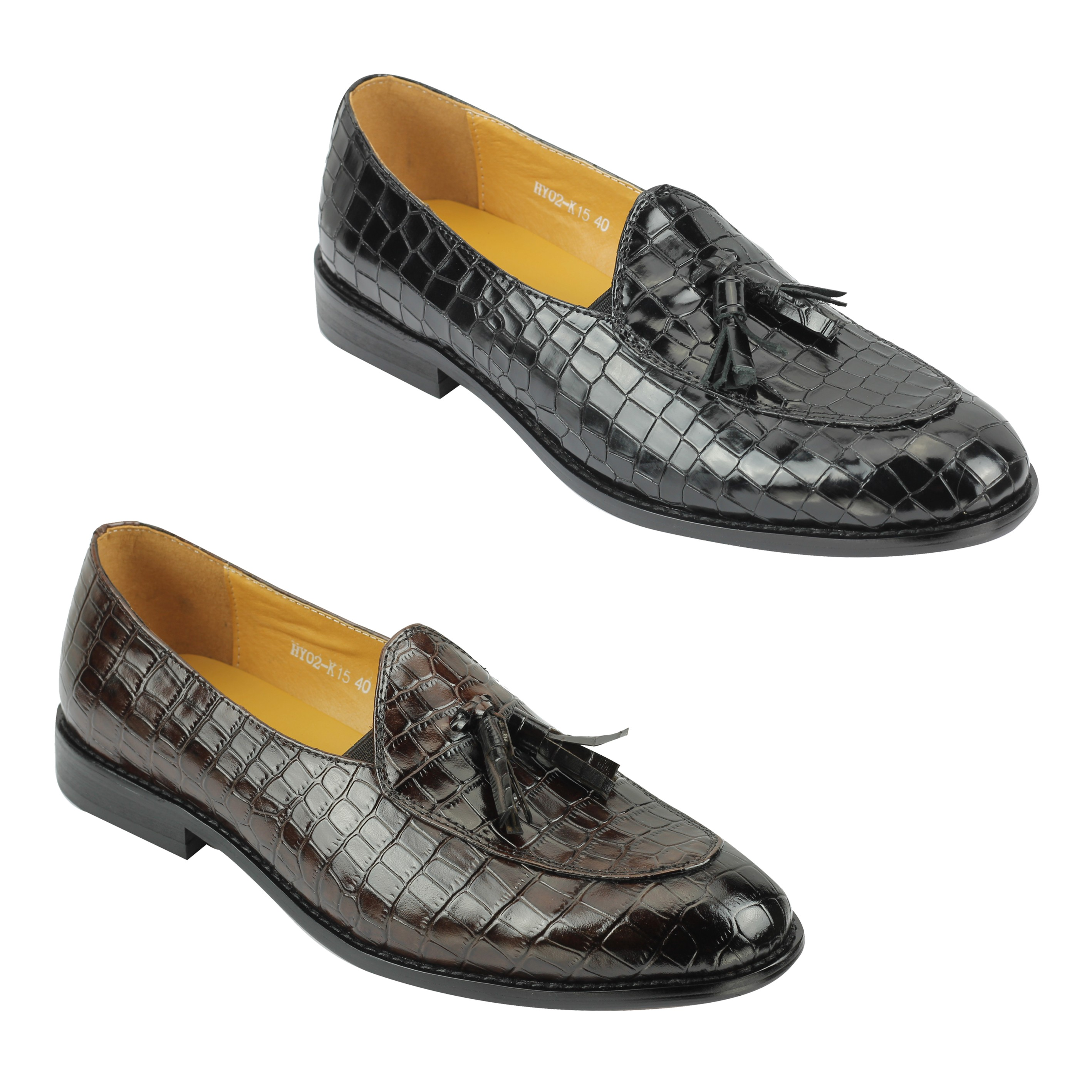 Mens Real Leather Brown Snakeskin Print Tassel Loafer Retro Wedding Dress Shoes
