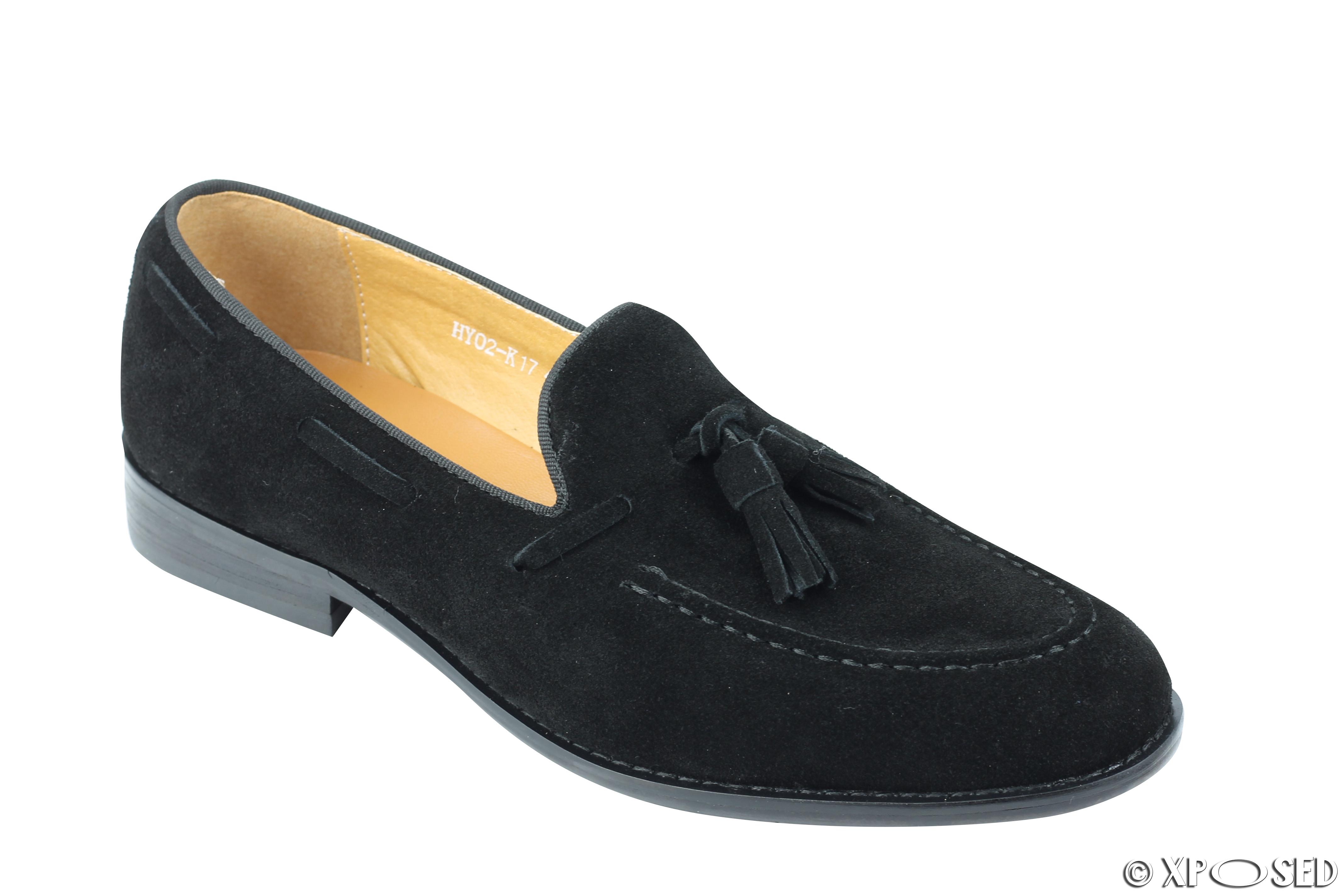 mens real suede leather black slip on smart tassel loafer