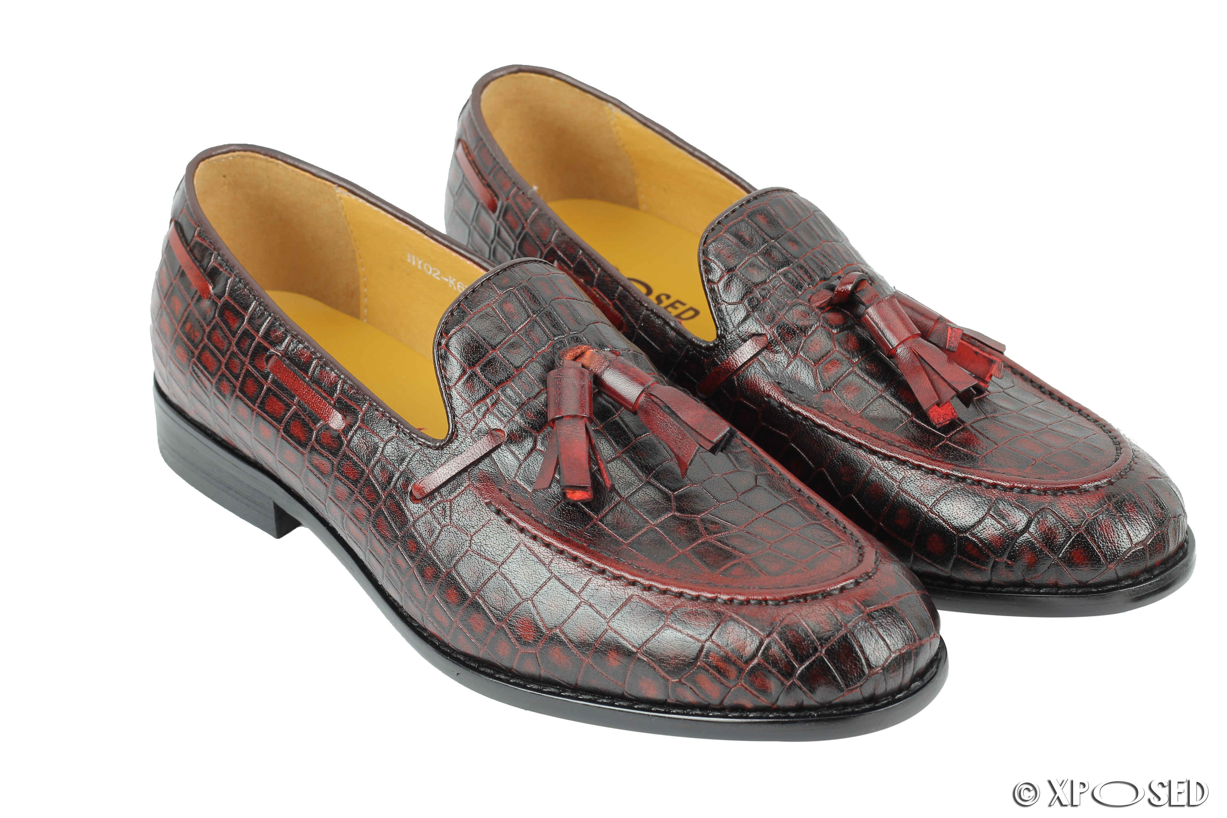 ed3c7995475 Mens Woven Look Real Leather Red Maroon Tassel Loafers Retro Dress Shoes UK  Size