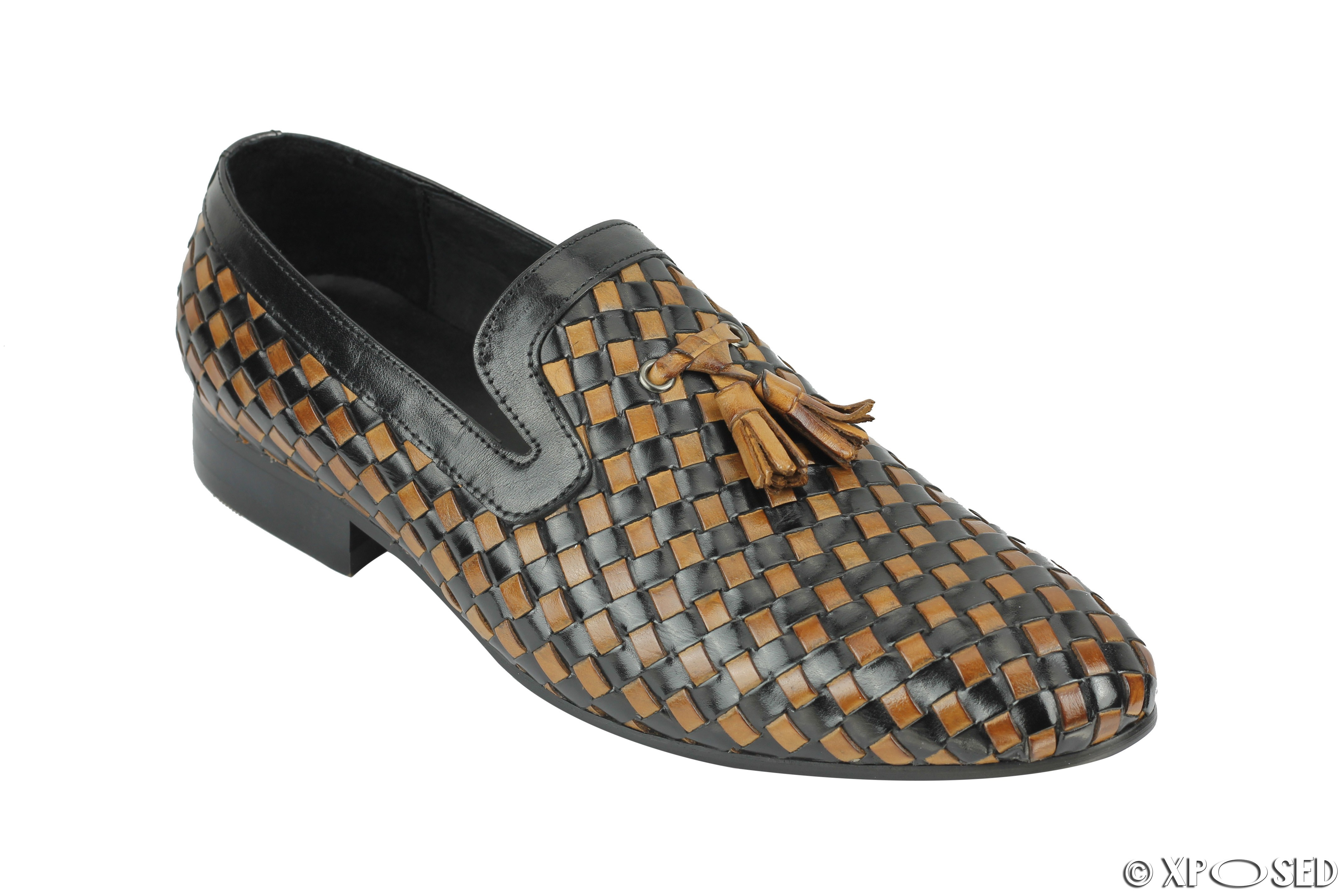 Mens Brown Woven Leather Slip On Shoes