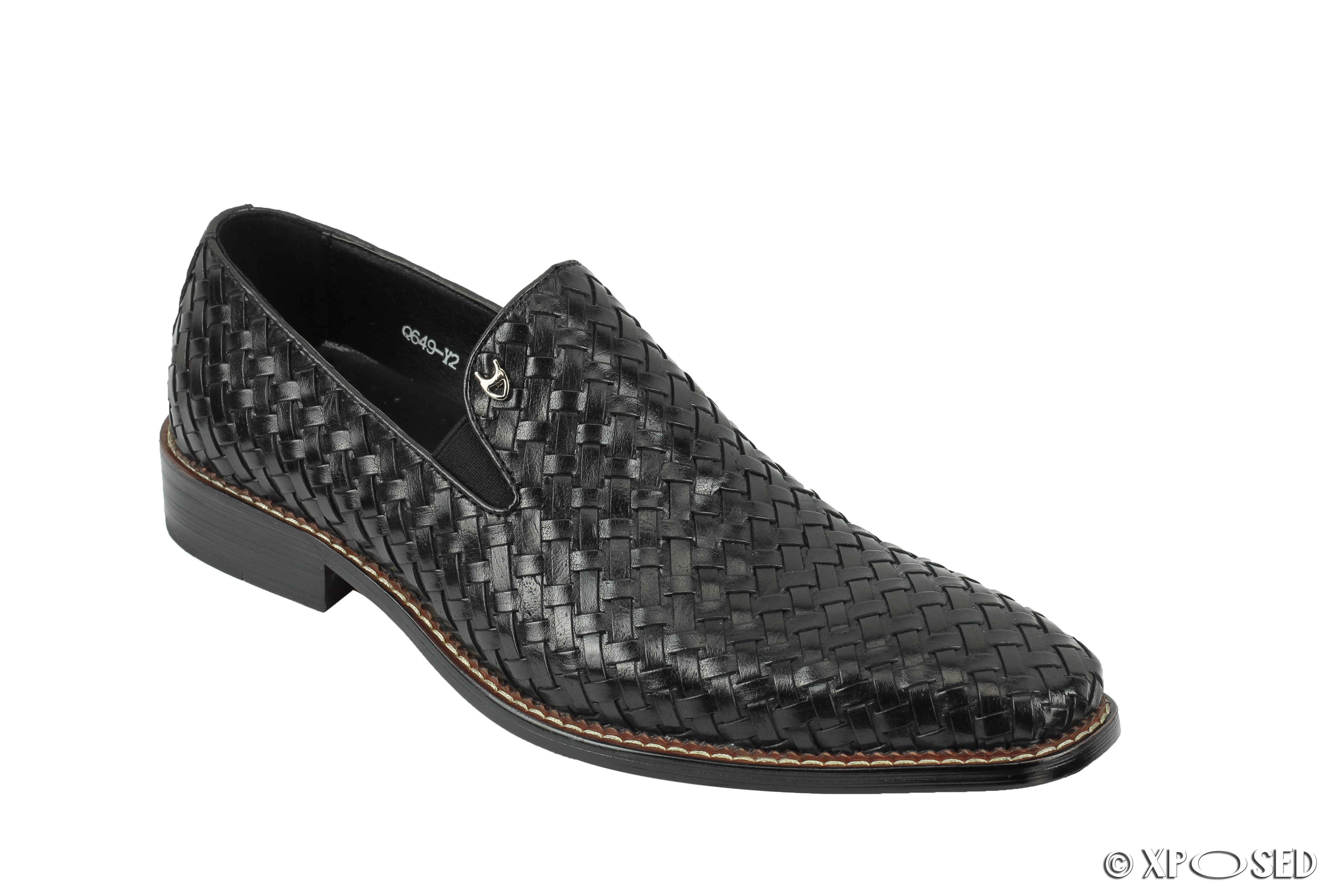 Mens Retro Hand Woven Real Leather Vintage Loafers Formal Slip On Dress Shoes