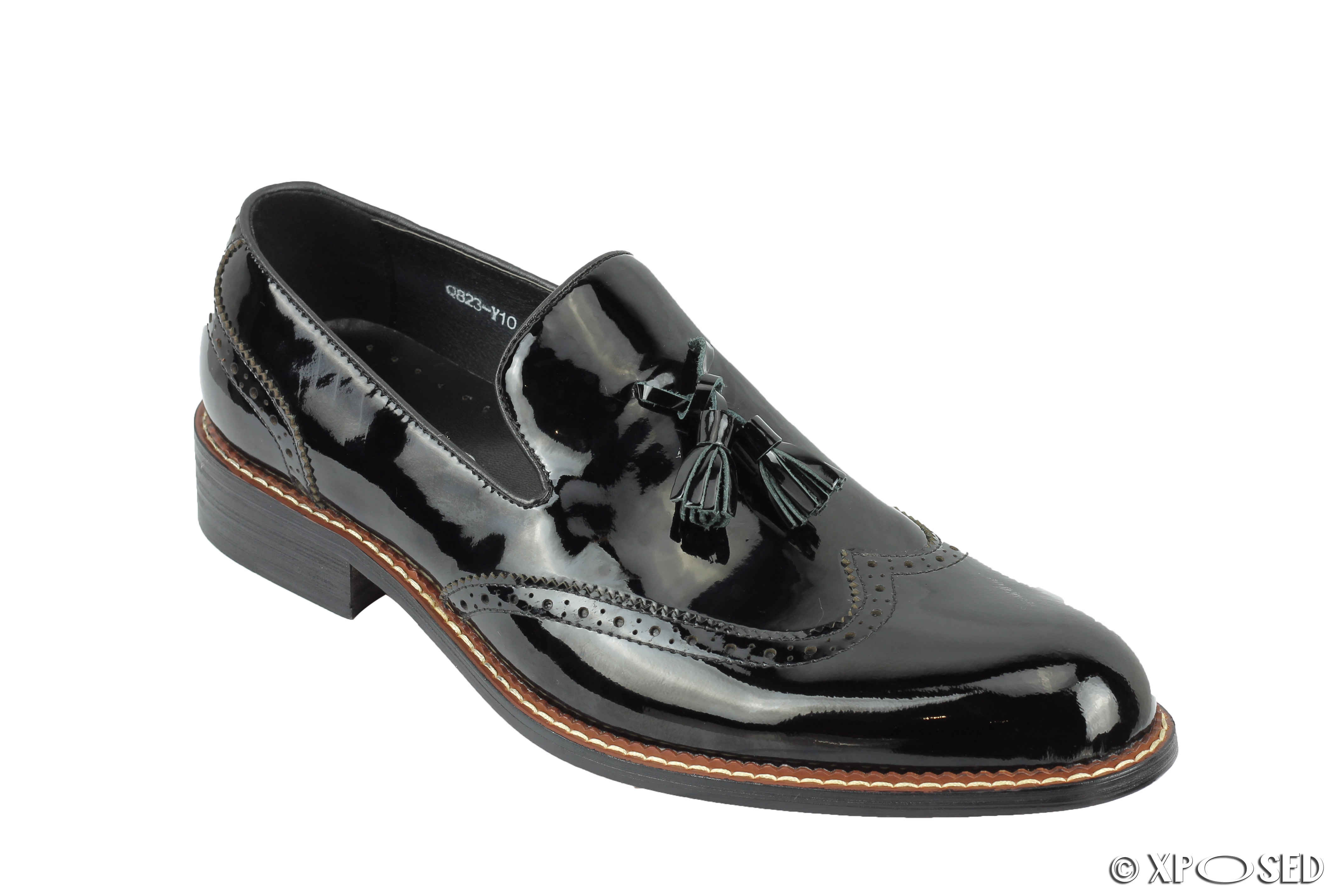 Mens Vintage Shiny Patent Real Leather Tassel Loafers Retro Brogue Shoes Black