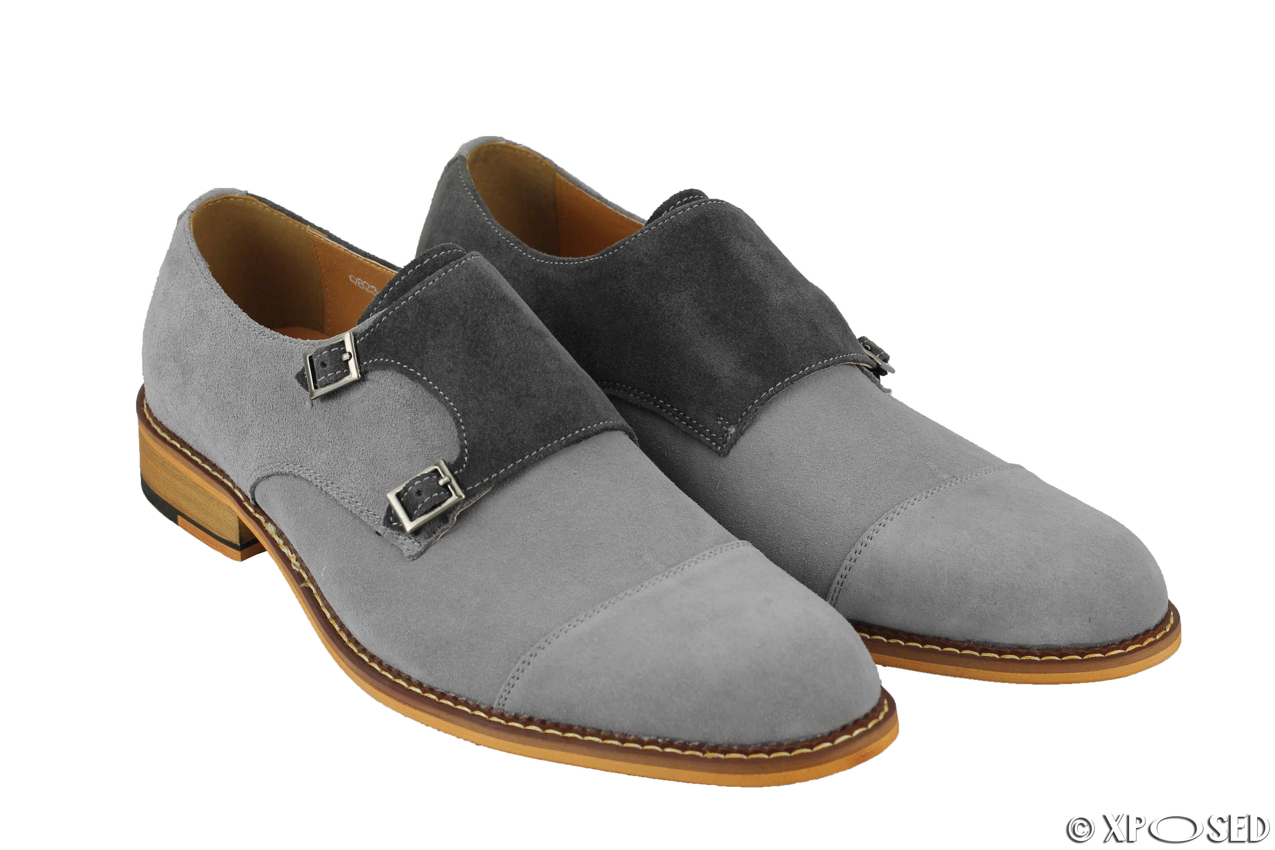 Mens Real Suede Leather Vintage Double Monk Strap Shoes Smart Formal