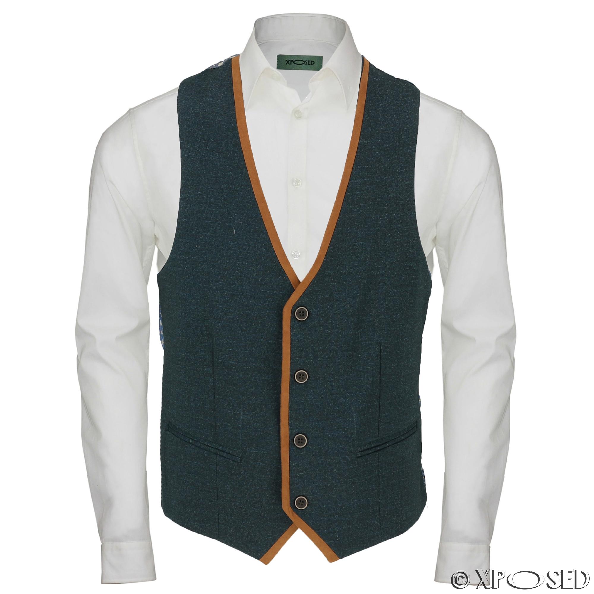 New Mens Stretch Blue Green Waistcoat Smart Casual Slim ...