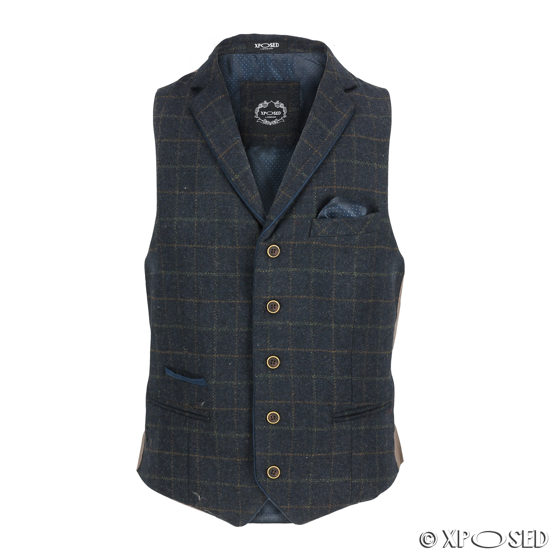 Mens-Azul-Tweed-cheque-3-Piezas-Traje-Chaqueta-Pantalon-Chaleco-se-vende-como-por-separado miniatura 11