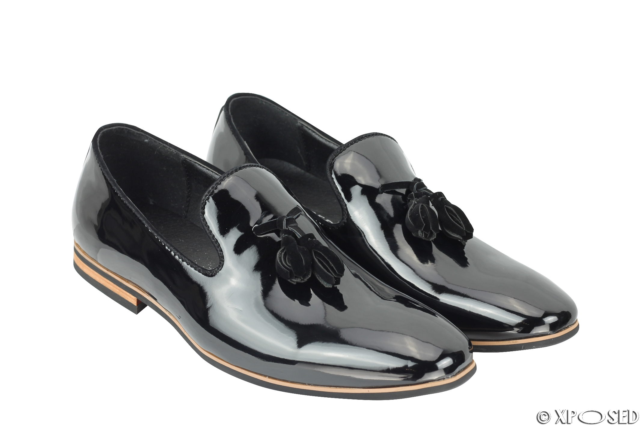 mens tassel loafers shiny patent leather line slip on